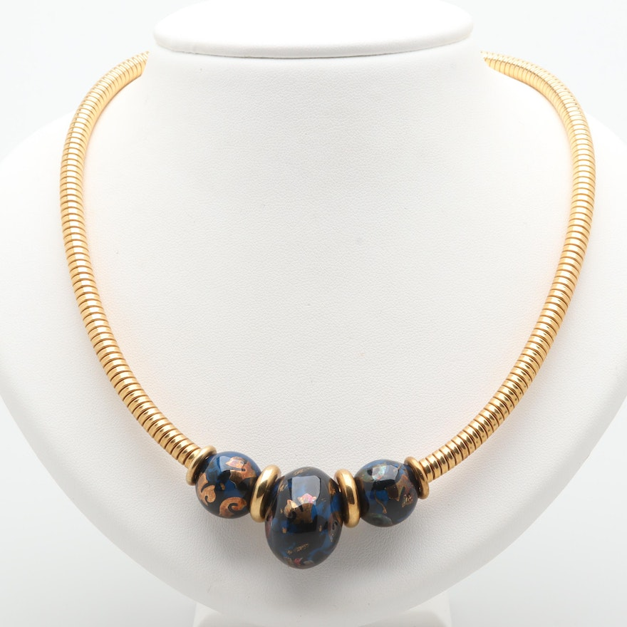 a0204ff7019587 Fidia Gioielli 18K Yellow Gold Enameled Bead Necklace with Sterling Accents  : EBTH