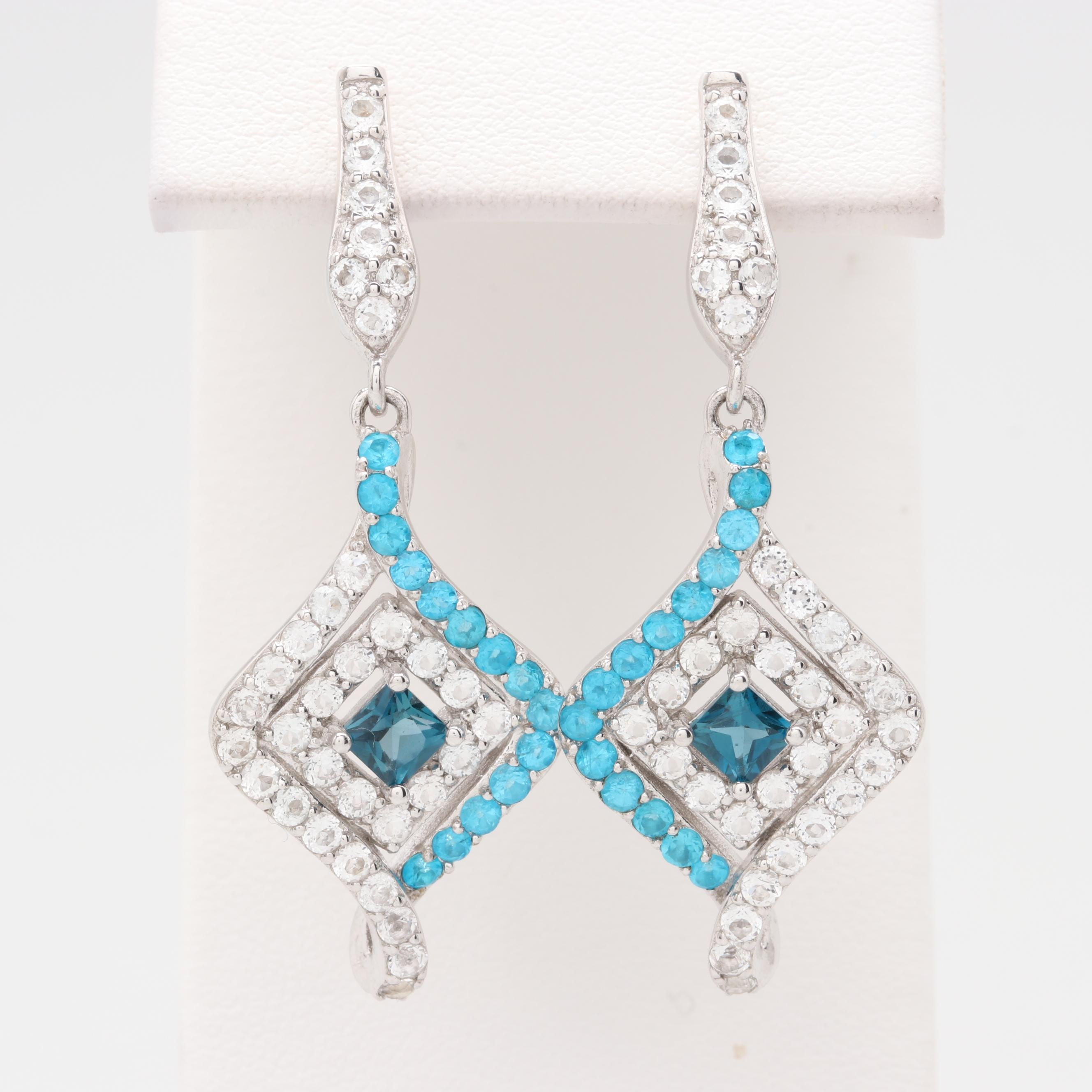 Robert Manse Sterling Silver Topaz and Apatite Earrings