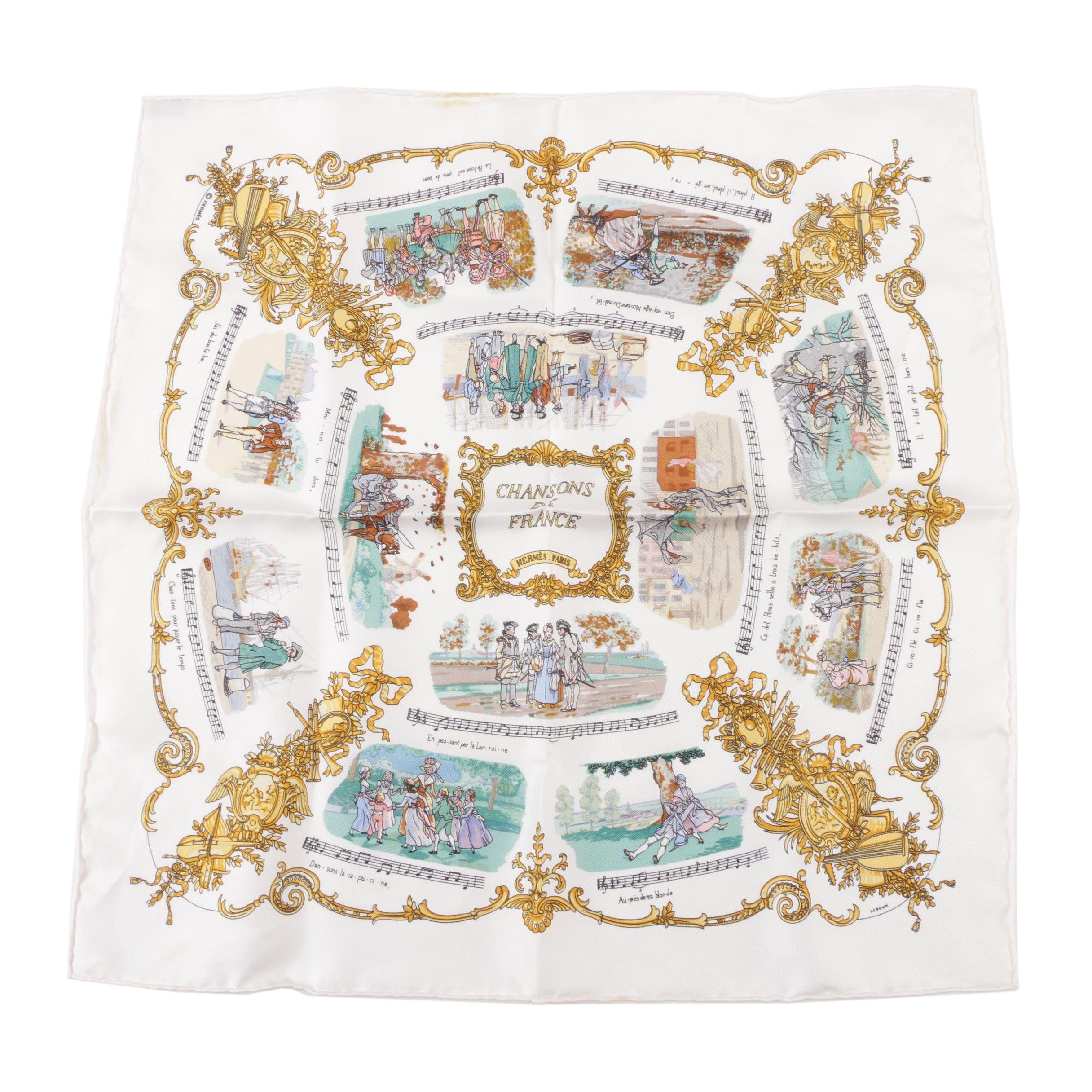 "Hermès ""Chansons de France"" by Philippe Ledoux Silk Pocket Square with Box"