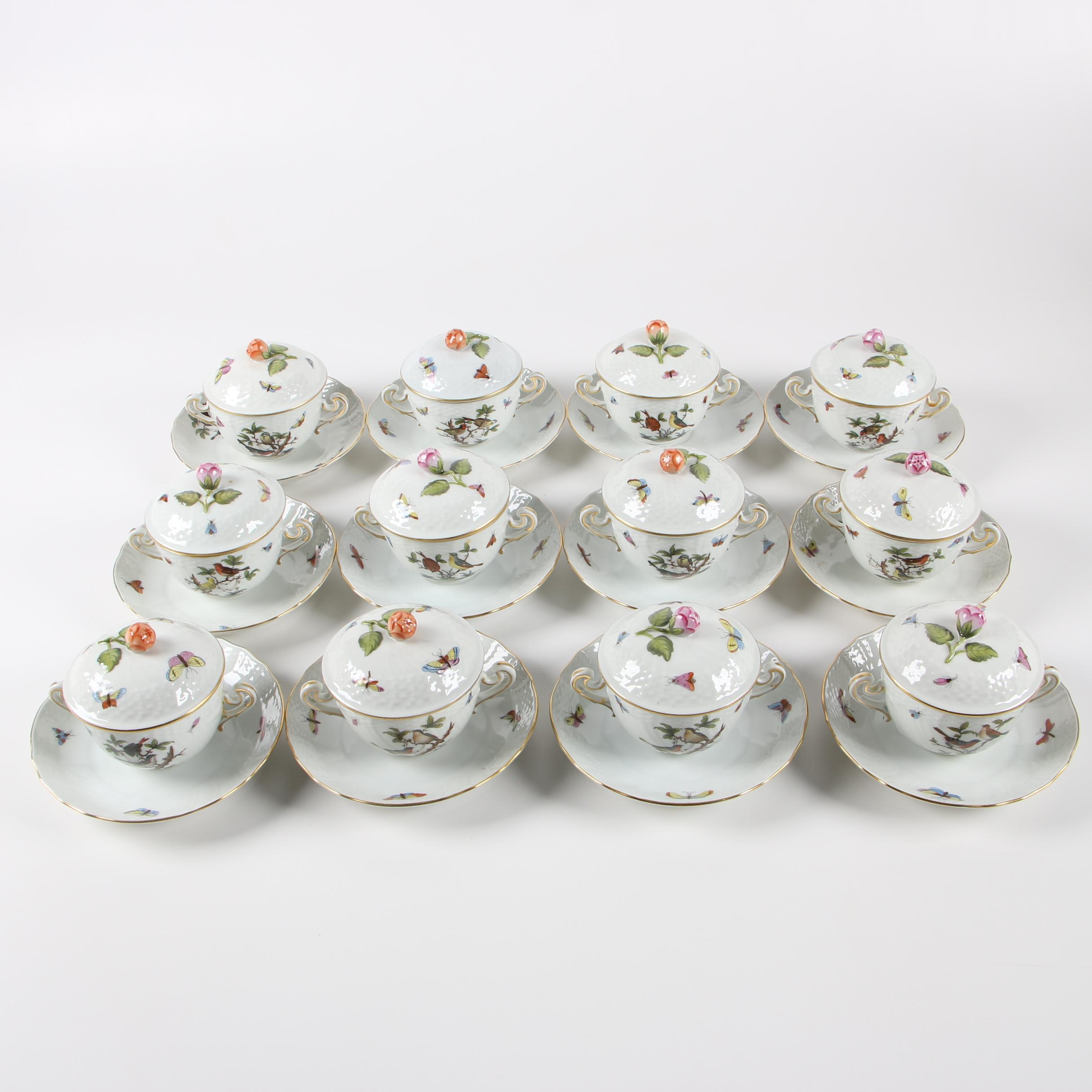 """Herend """"Rothschild Bird"""" Porcelain Lidded Bouillon Cups with Saucers"""