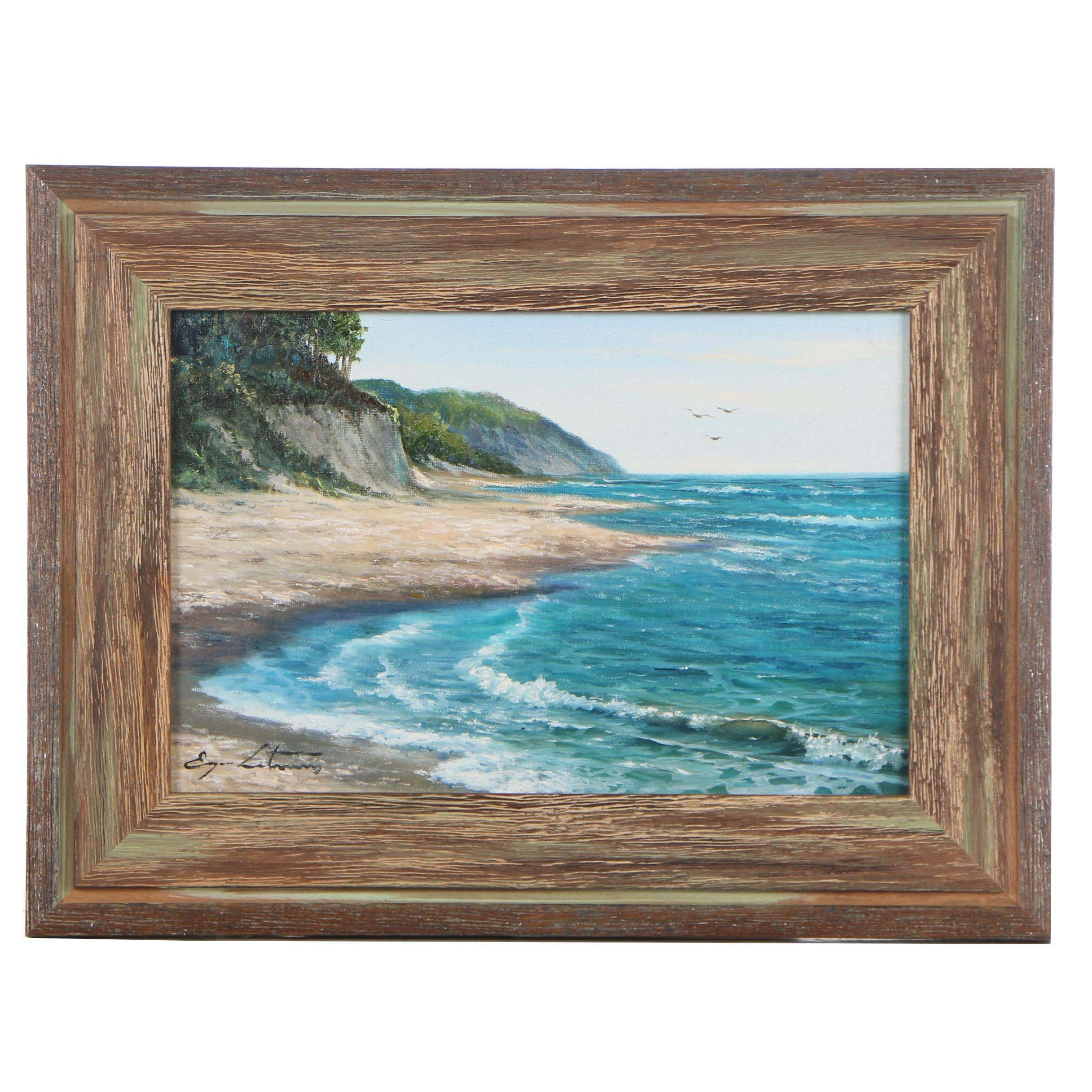 """Jevgenijus Litvinas Oil Painting """"Calm Sea"""""""