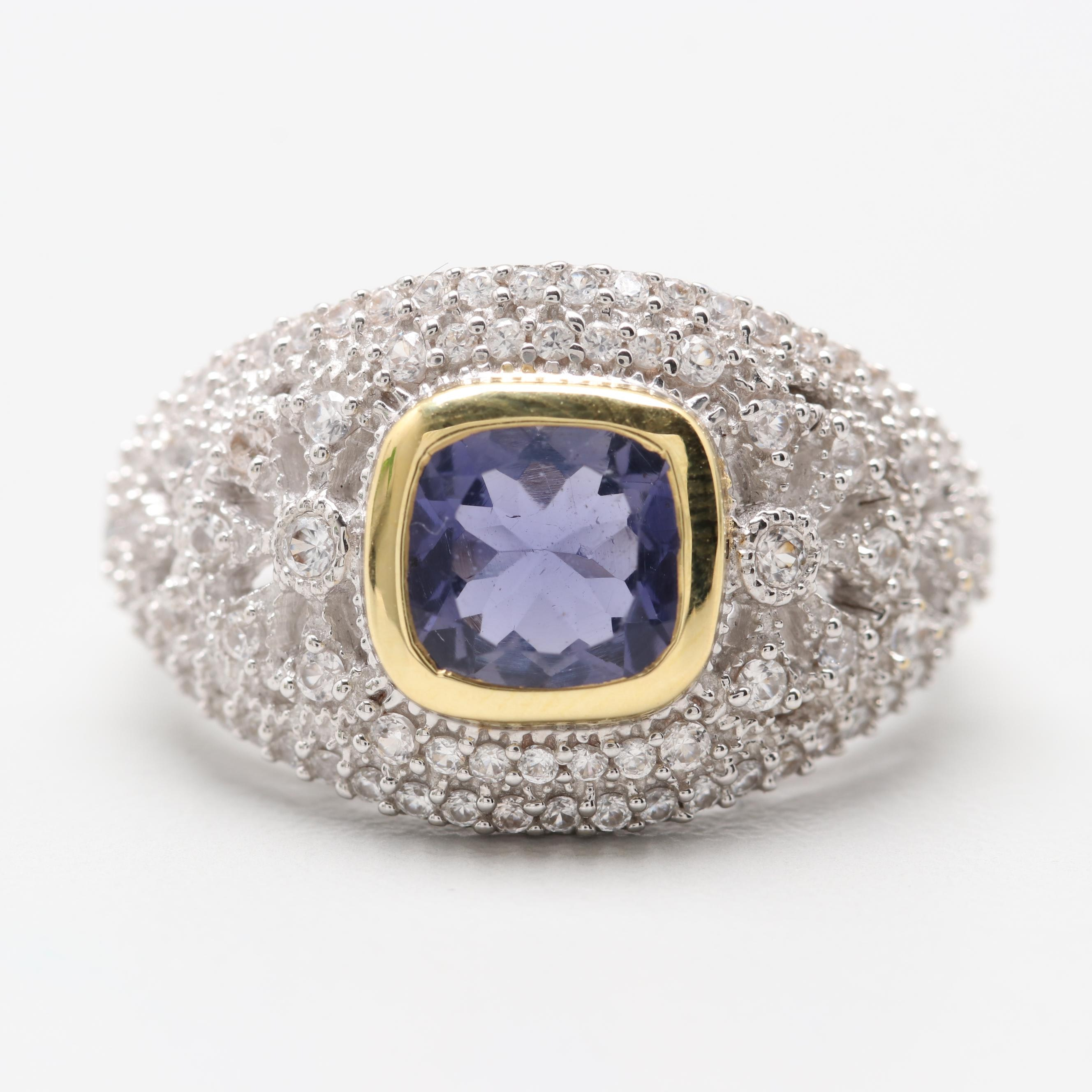 Robert Manse Sterling Silver Iolite and White Topaz Ring