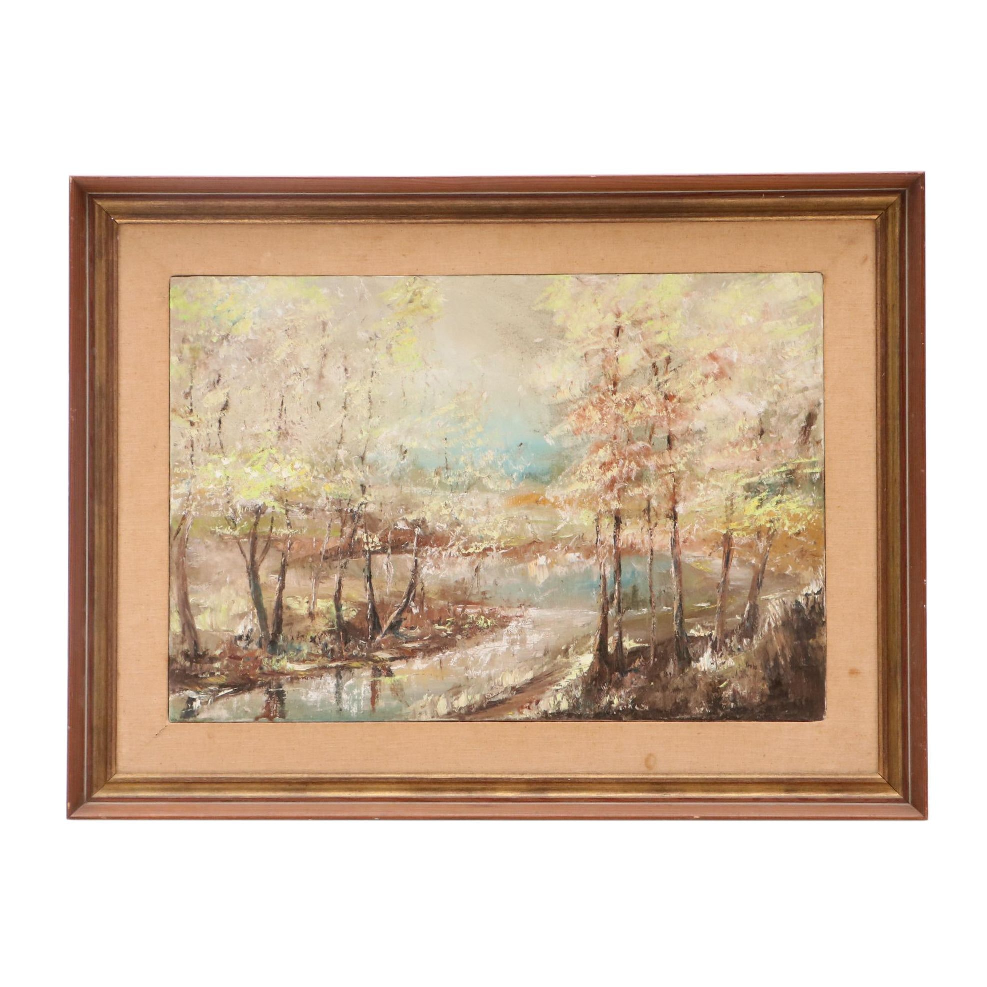 Krebs Expressionistic Oil Painting of Forested Landscape