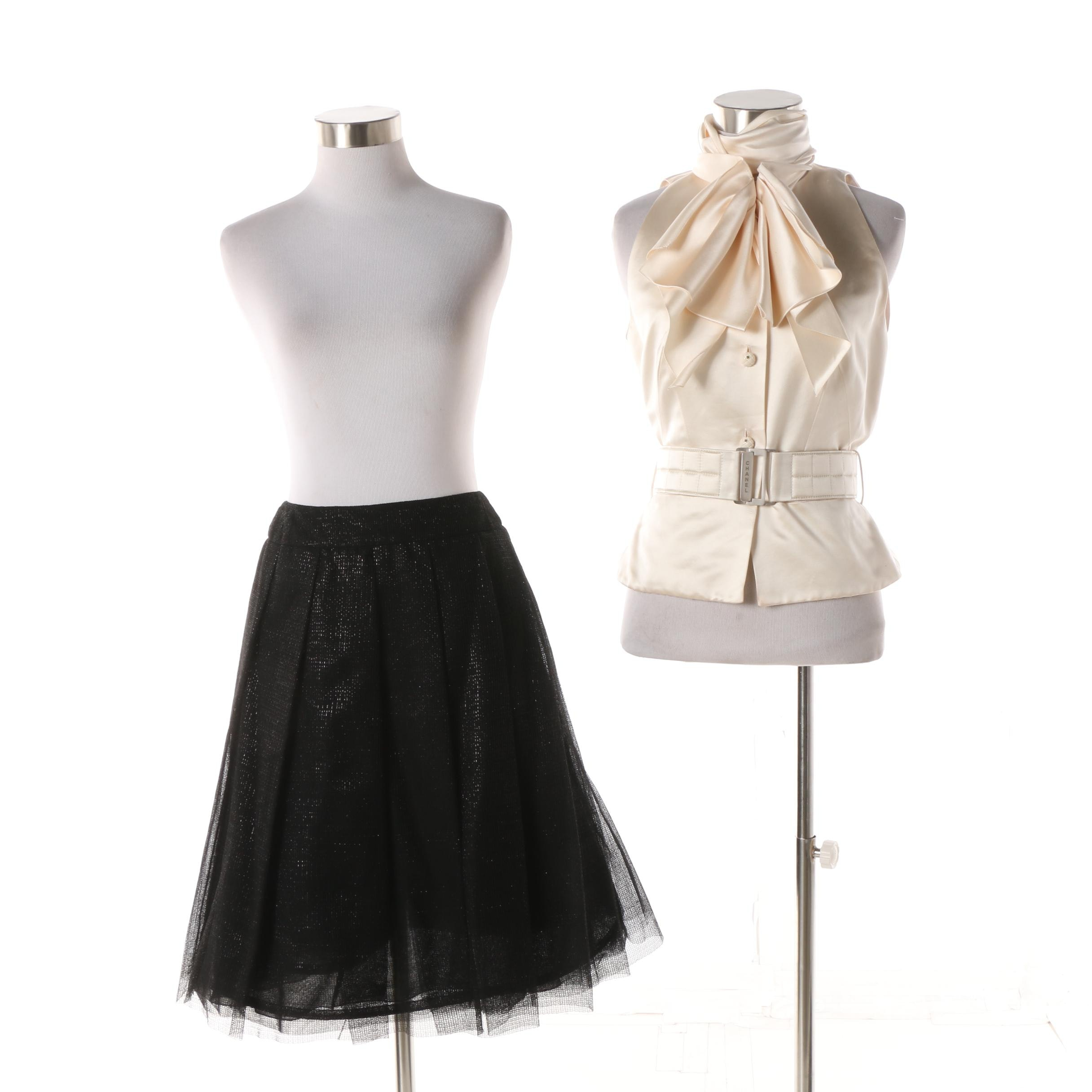 Chanel Ivory Silk Blouse and Black Tulle Overlay Pleated Skirt