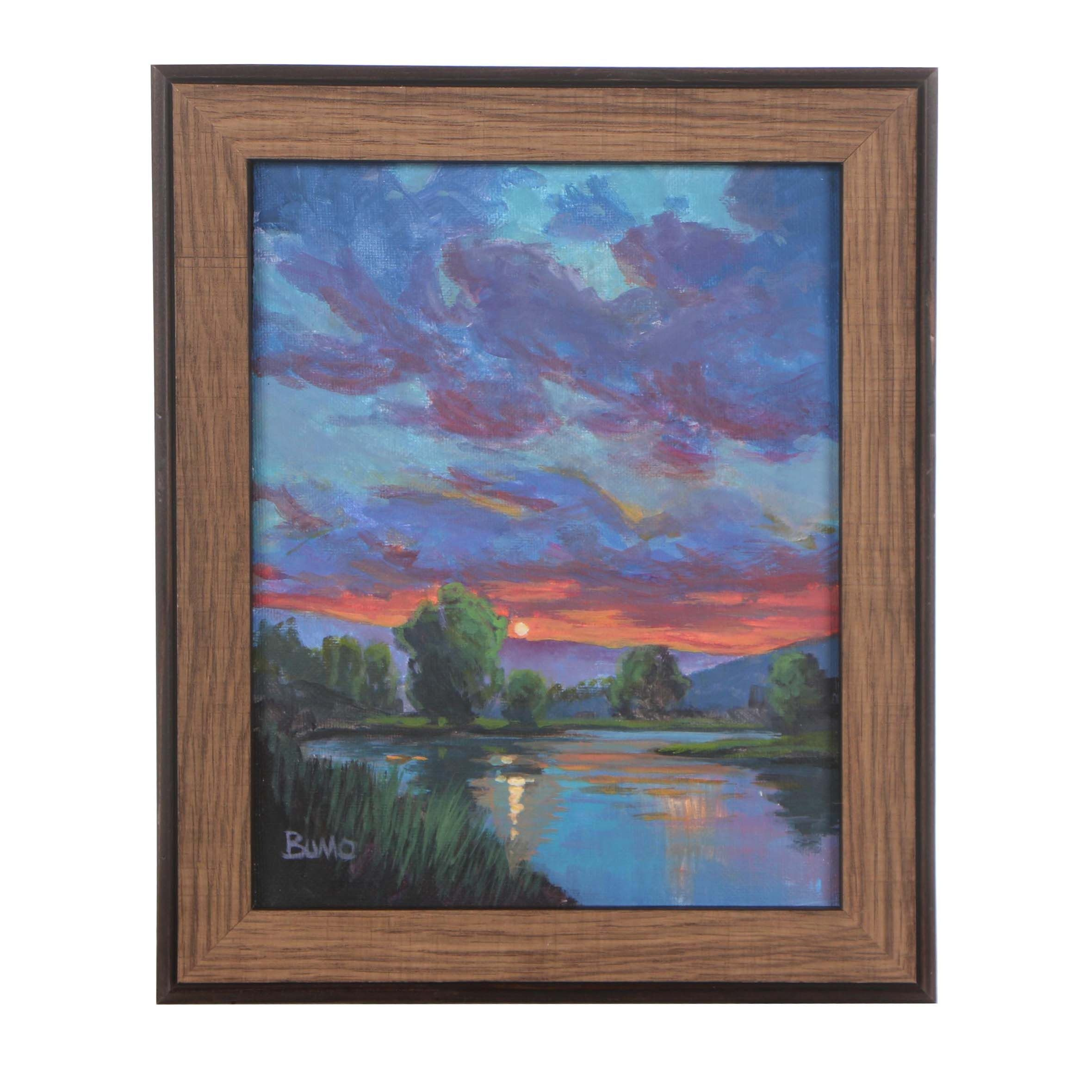 "Douglas Bumo Johnpeer Oil Painting ""Before The Rain"""
