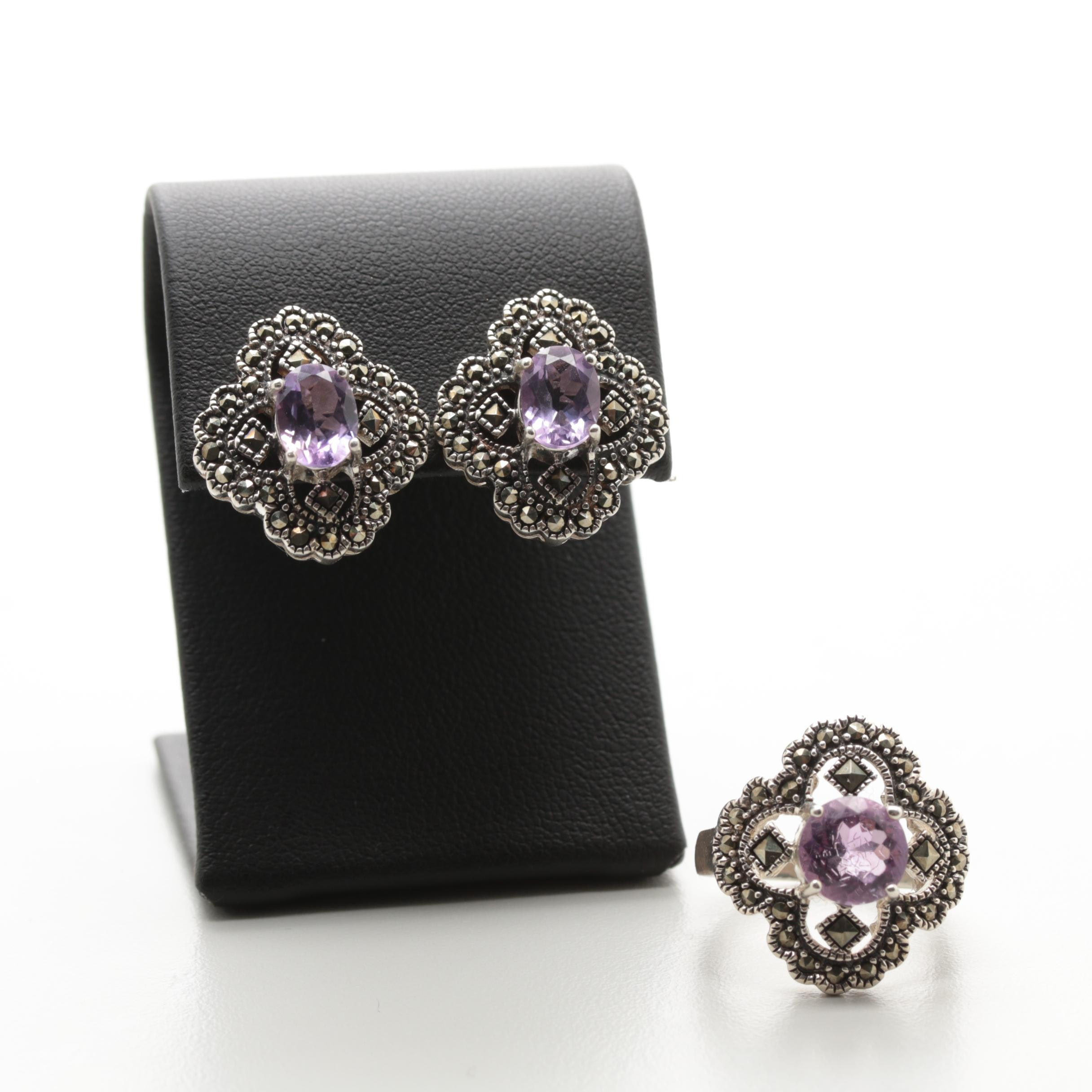 Sterling Silver Amethyst and Marcasite Earrings and Ring Set