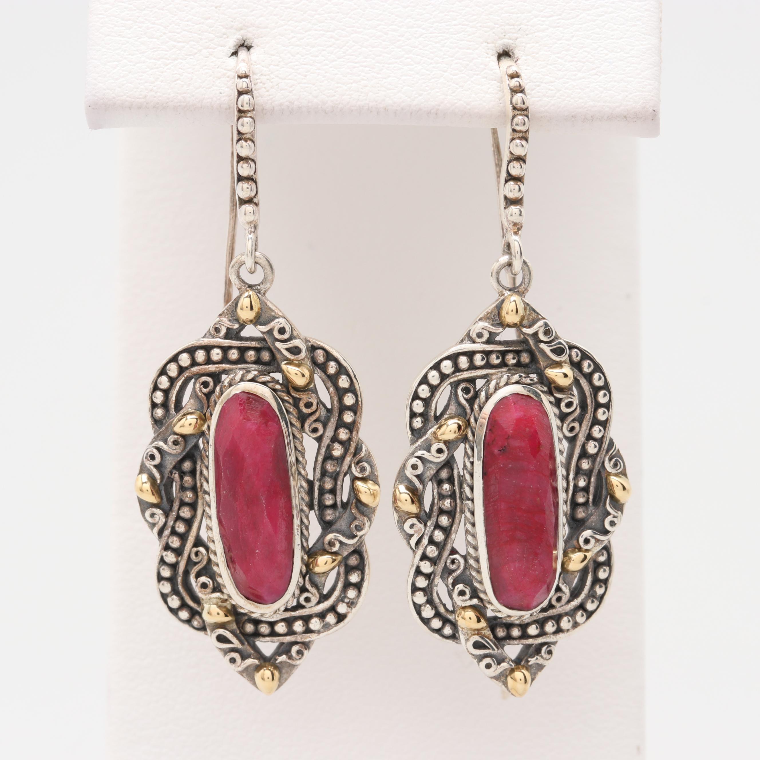 Robert Manse Sterling Glass Filled Corundum Earrings 18K Yellow Gold Accent