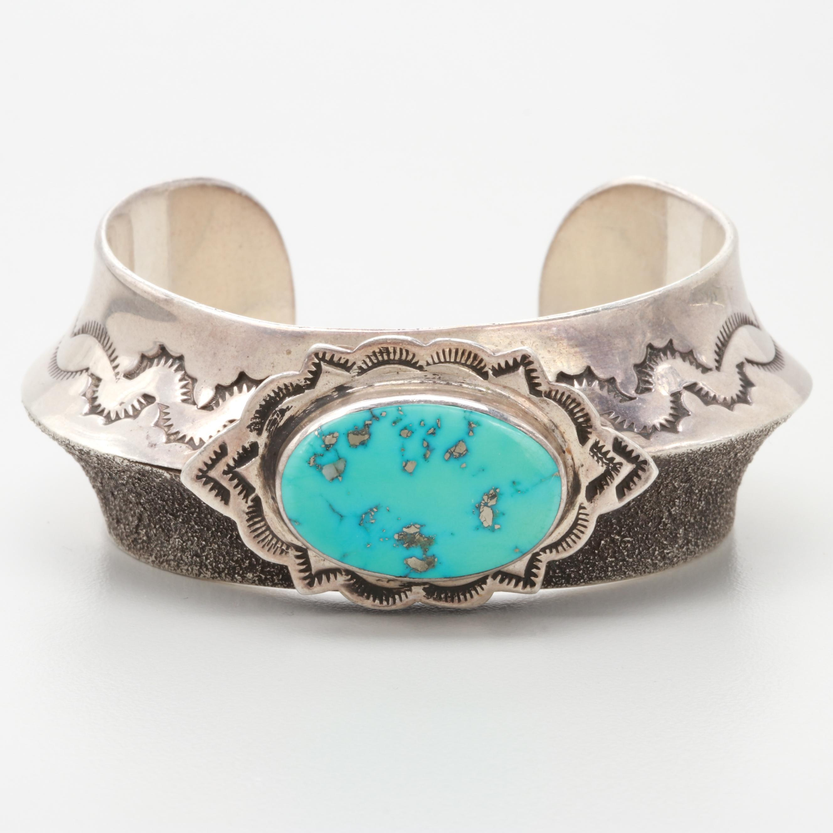 Redwater Navajo Diné Sterling Silver Turquoise Cuff