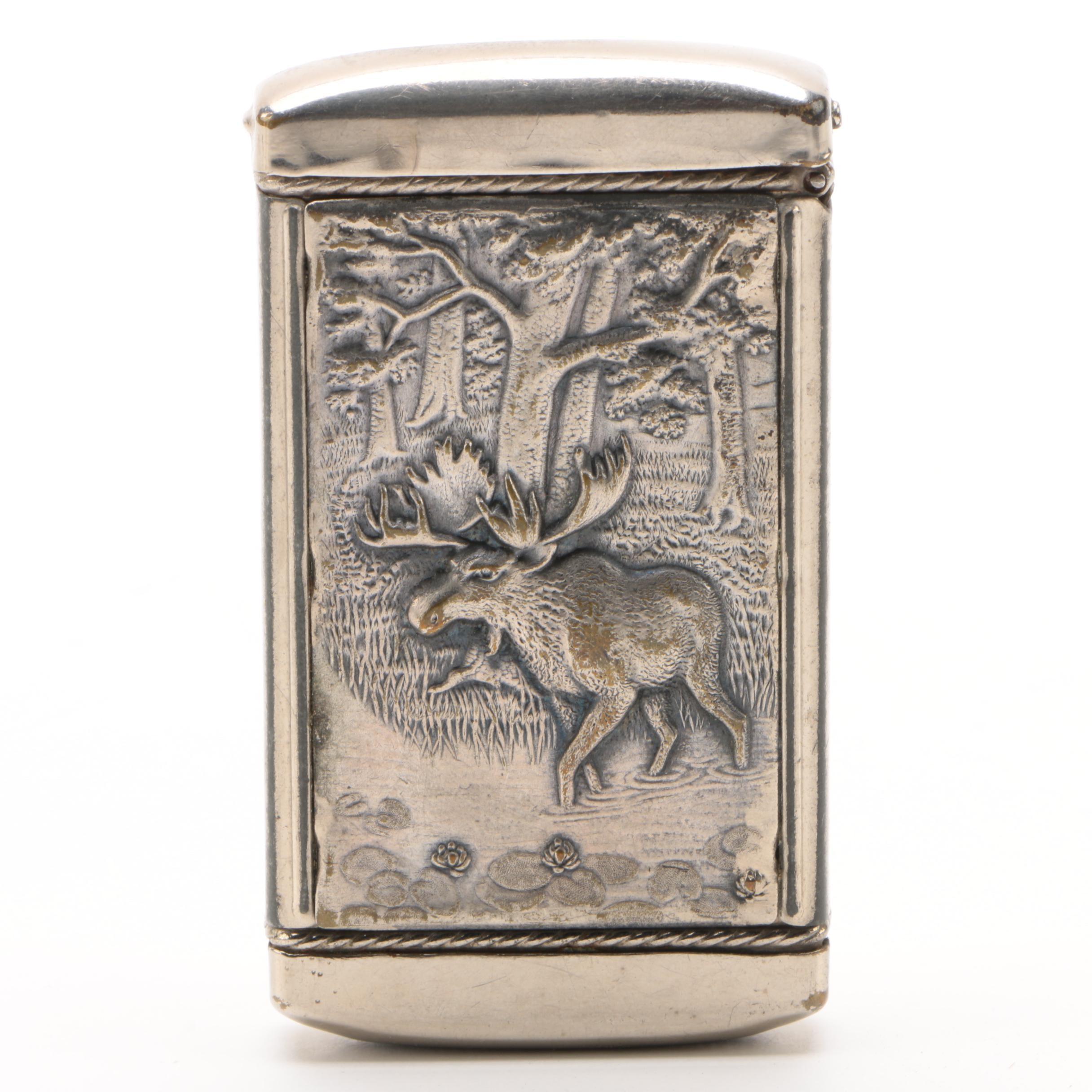 Silver-Plated Brass Moose Motif Matchstick Safe, Circa 1920s