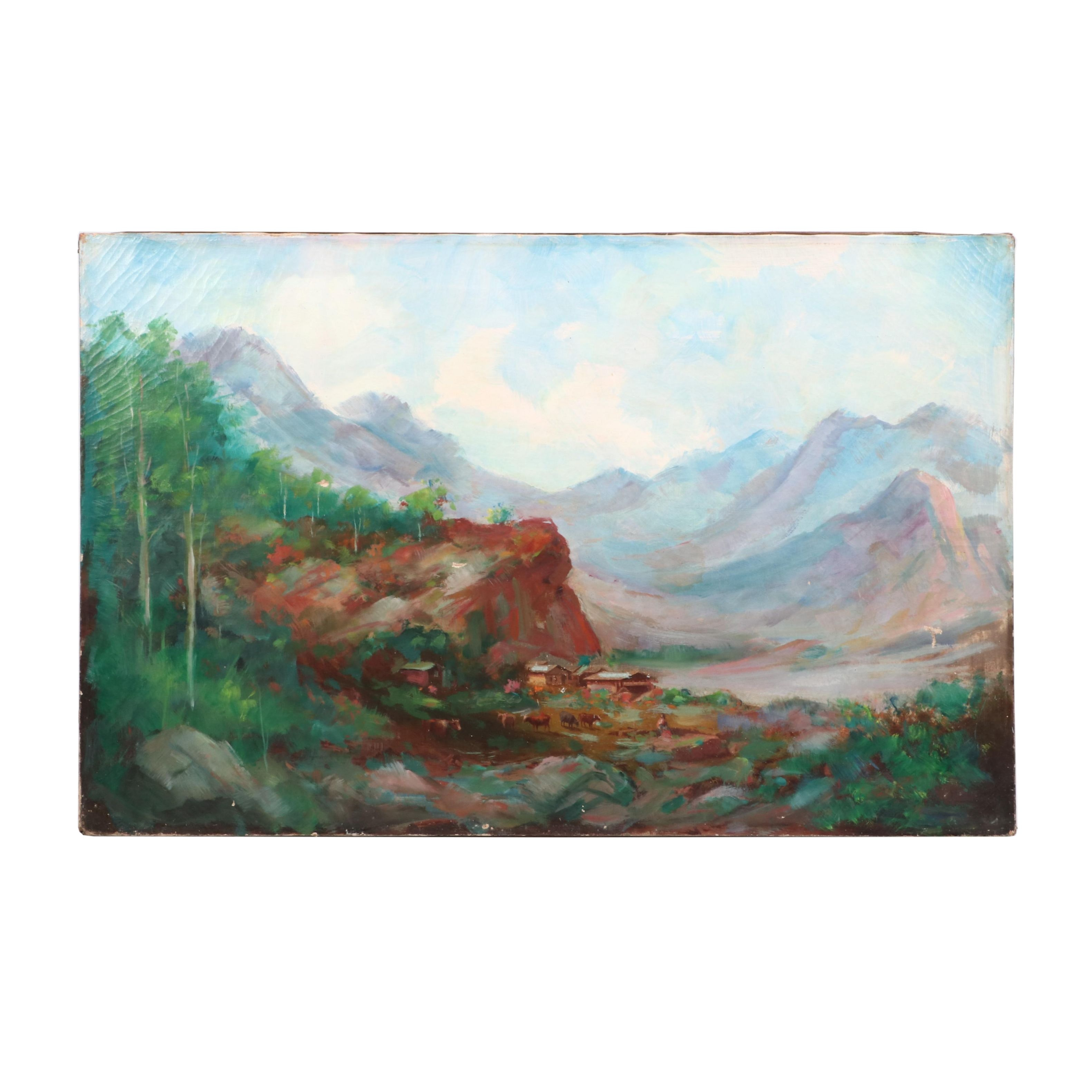 Antique Continental Mountain Landscape Oil Painting