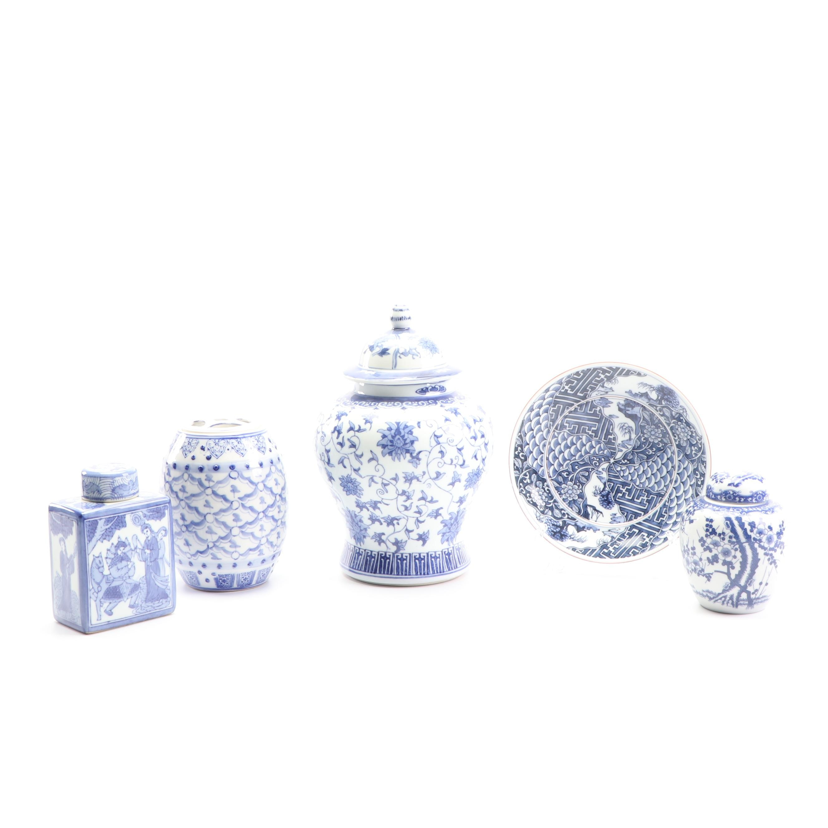 Chinese Blue and White Porcelain Ginger Jars, Vase, and Plate