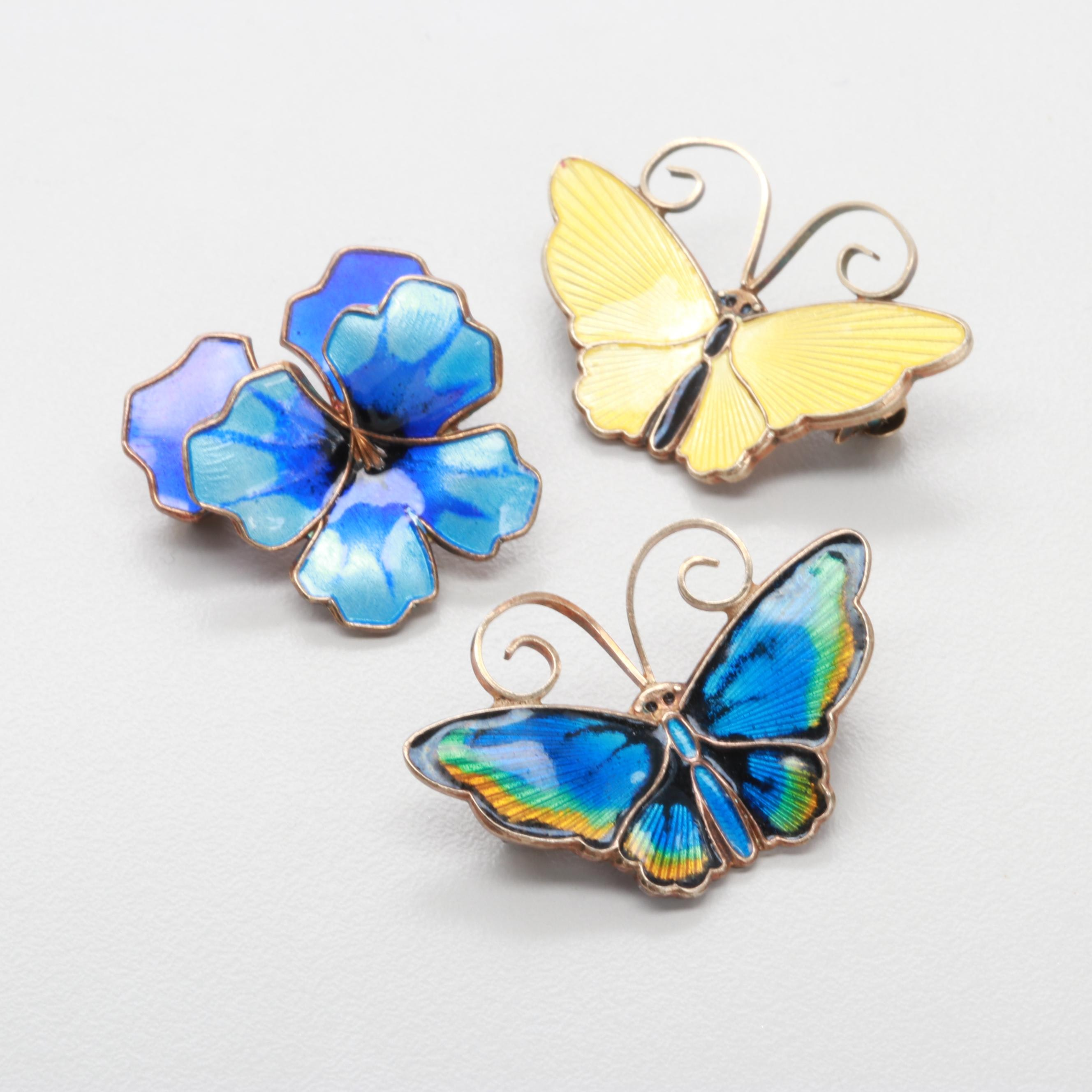 David Andersen Sterling Silver Guilloché Enamel Butterfly Brooches