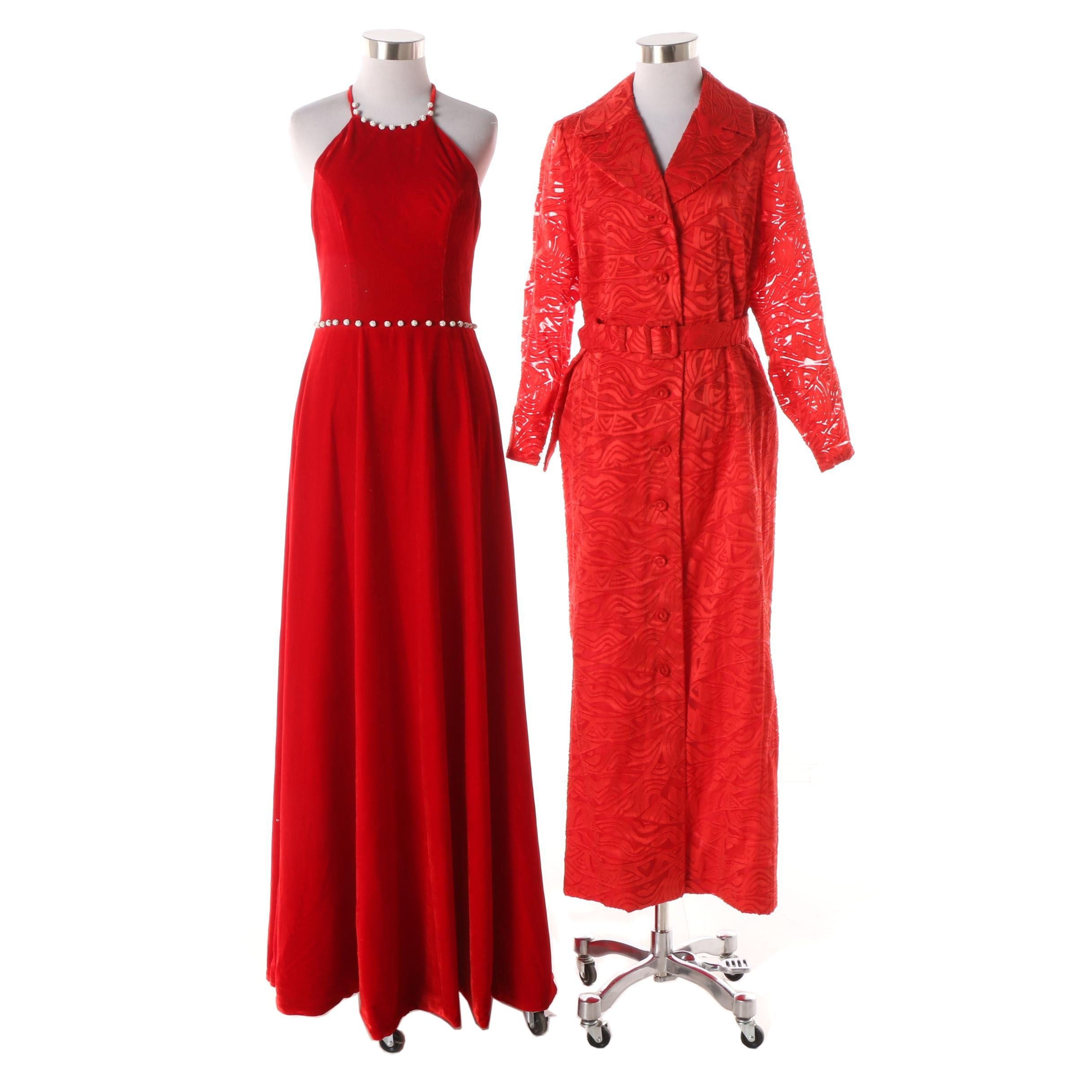 1980s Vintage Embellished Red Velvet Evening Gown with Doreen Loh Trench Dress