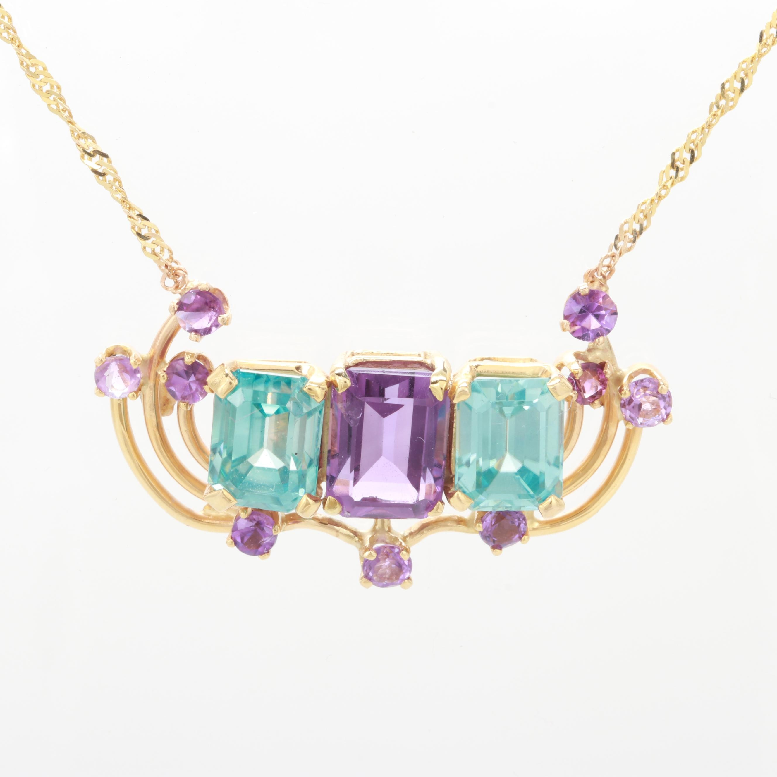 14K Yellow Gold Amethyst and Blue Zircon Necklace