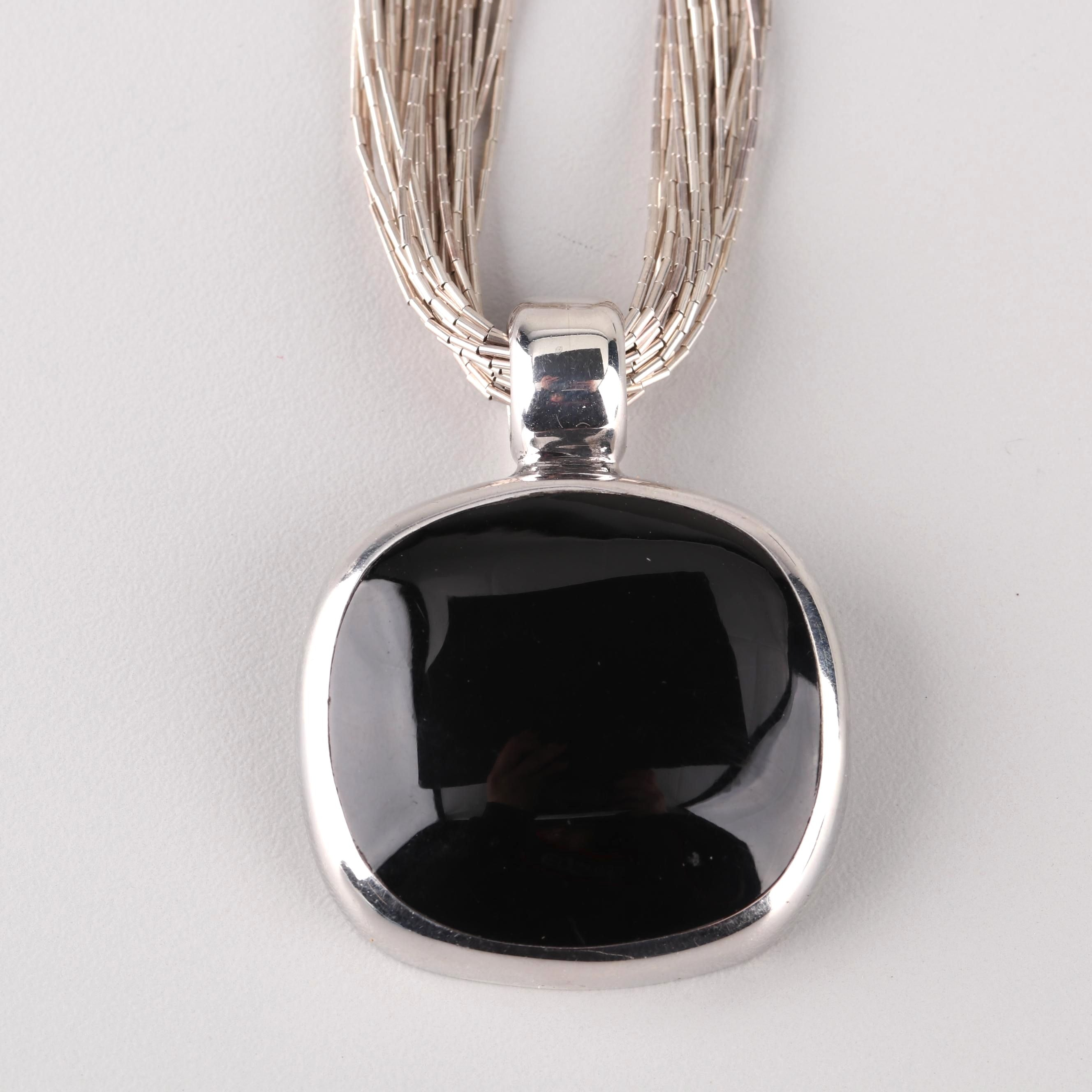 Liquid Sterling Silver Necklace and Black Onyx Pendant