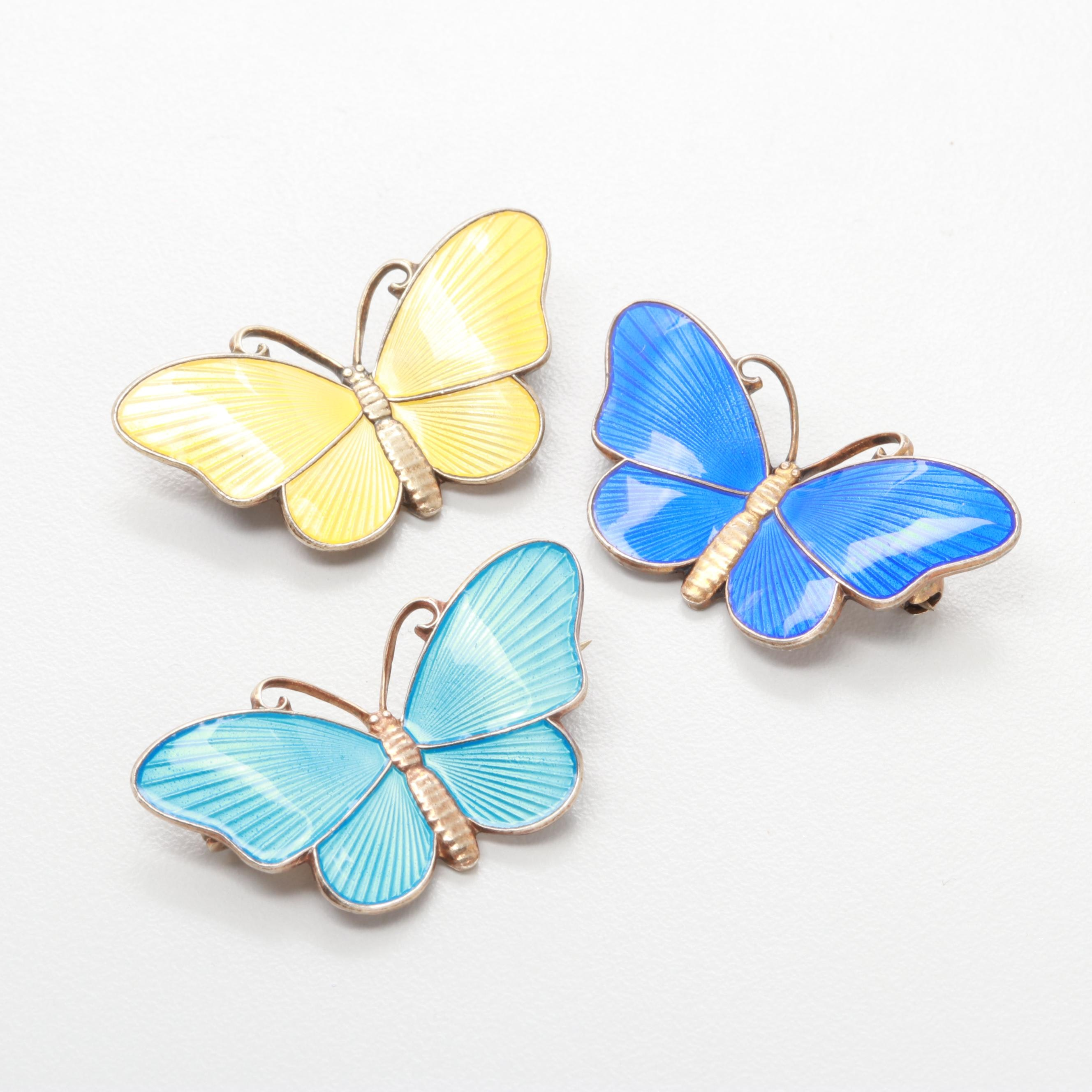 Norwegian Sterling Silver Guilloché Enamel Butterfly Brooches