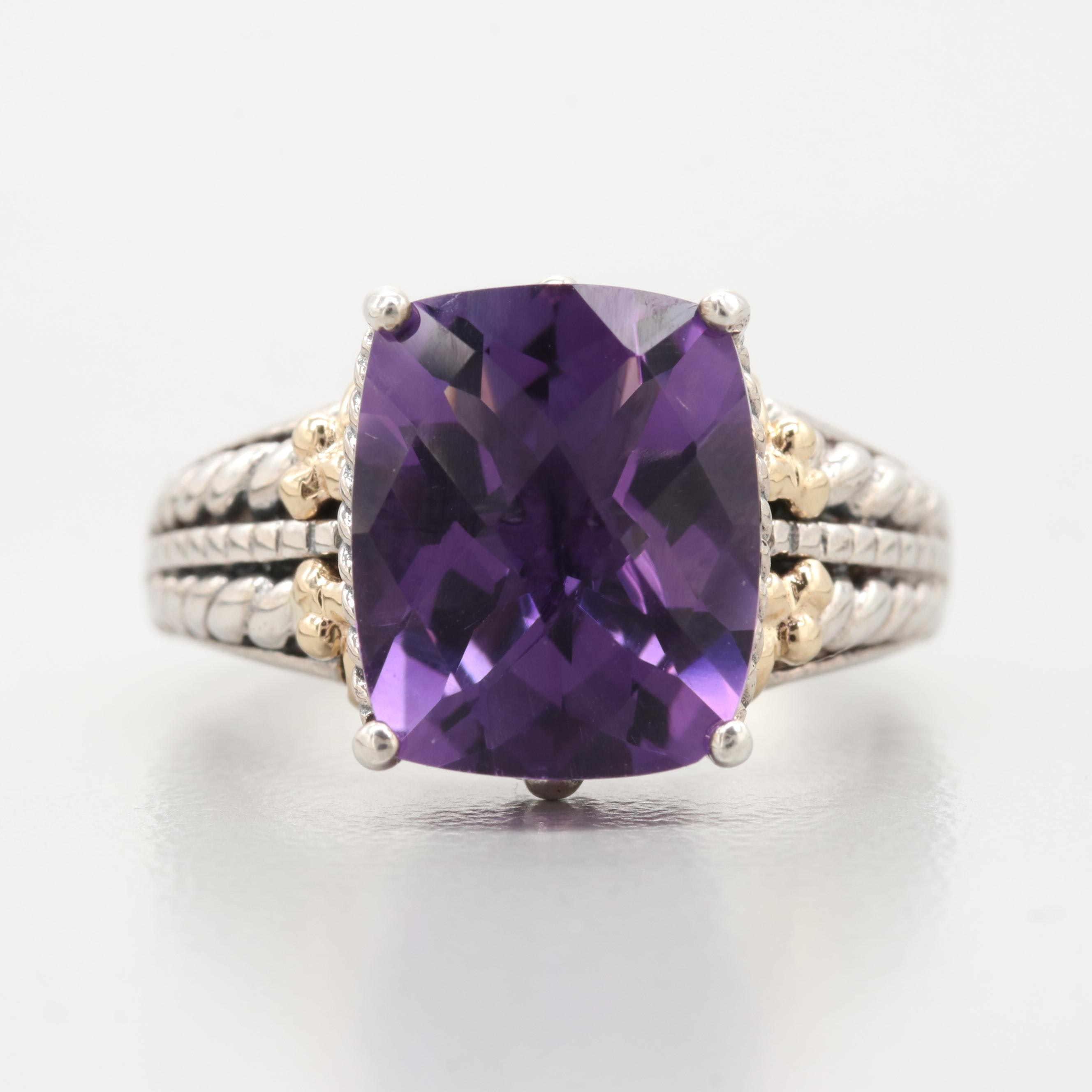 Sterling Silver Amethyst Ring with 14K Yellow Gold Accents