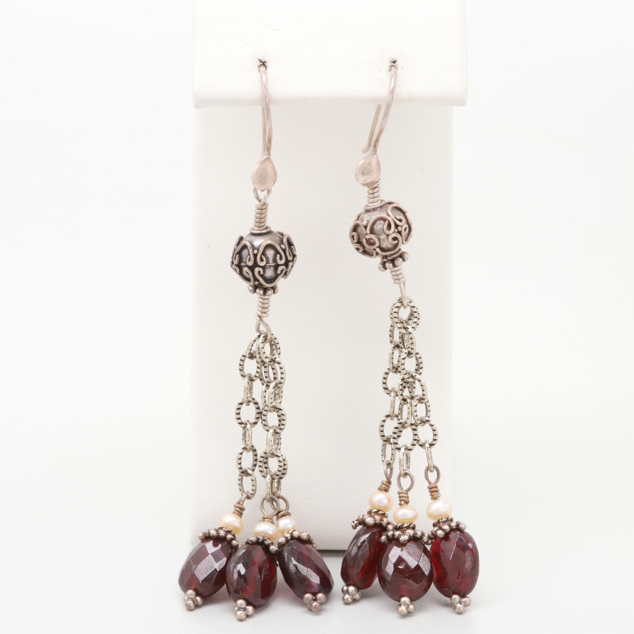 Vintage Sterling Silver Garnet and Cultured Pearl Drop Tassel Earrings