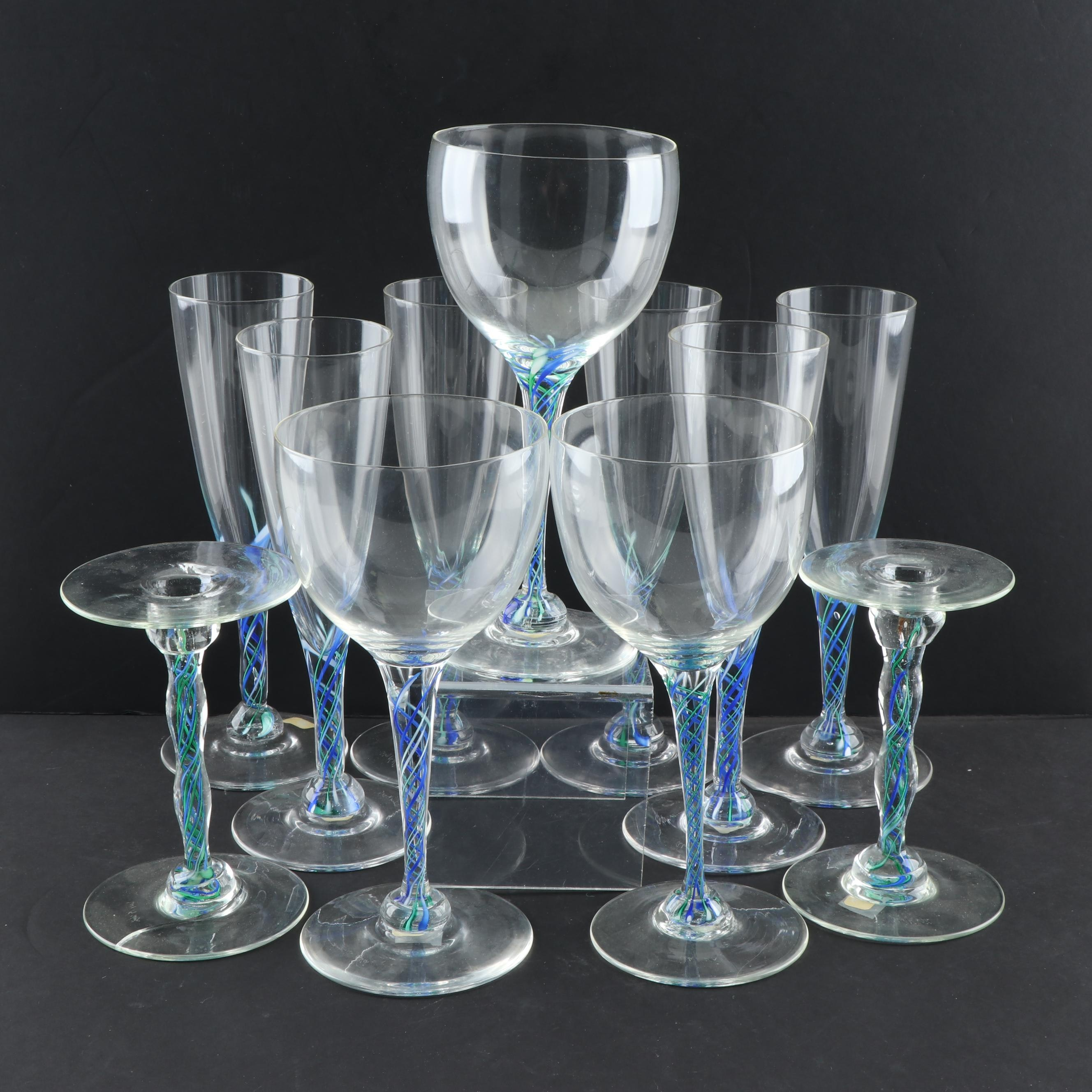 Blown Glass Stemware and Candlesticks with Swirled Ribbon Glass Stems