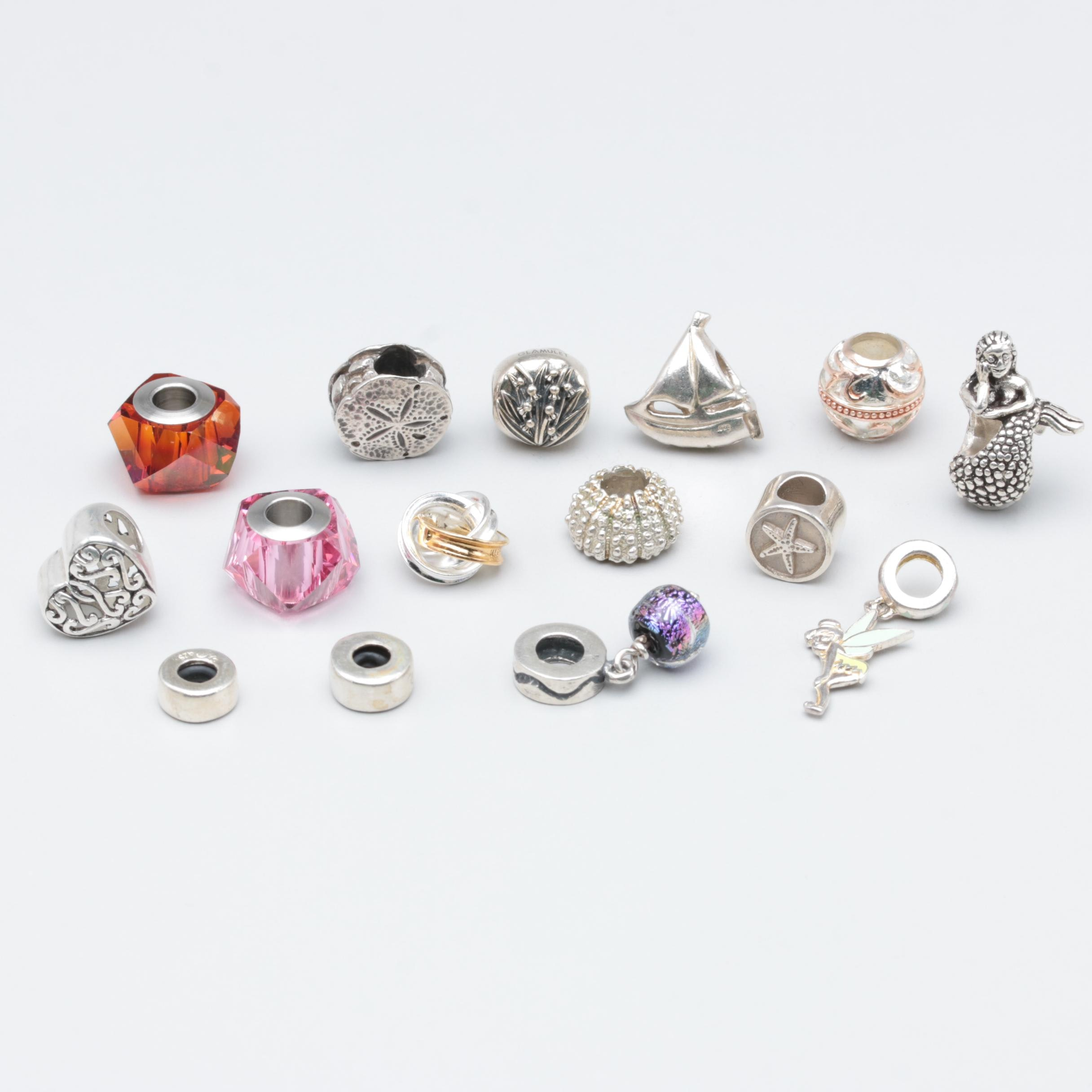 Sterling Silver and Silver Tone Charms Including Disney, Enamel and Glass