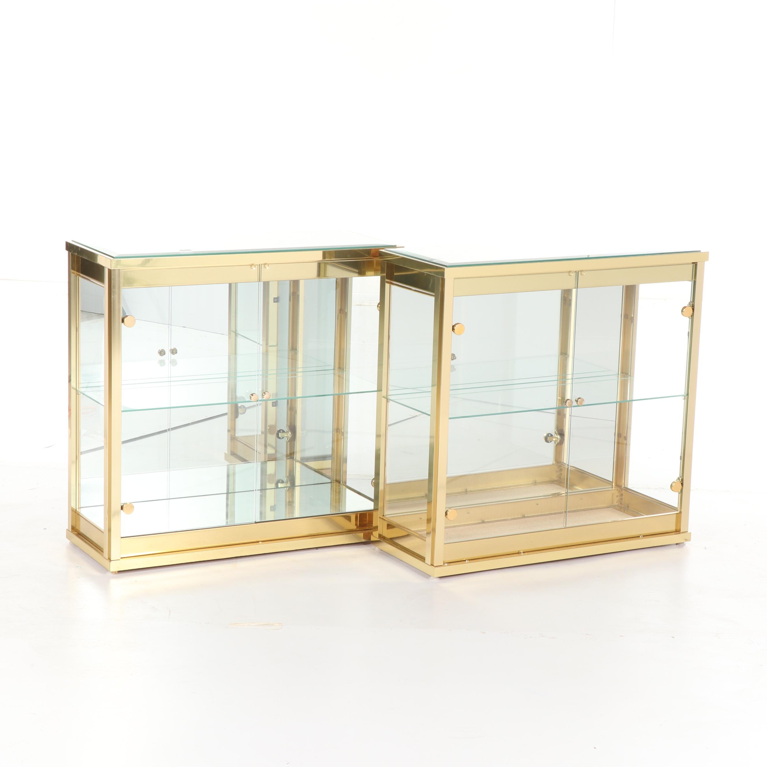 Brass and Glass Display Cabinets, Late 20th Century