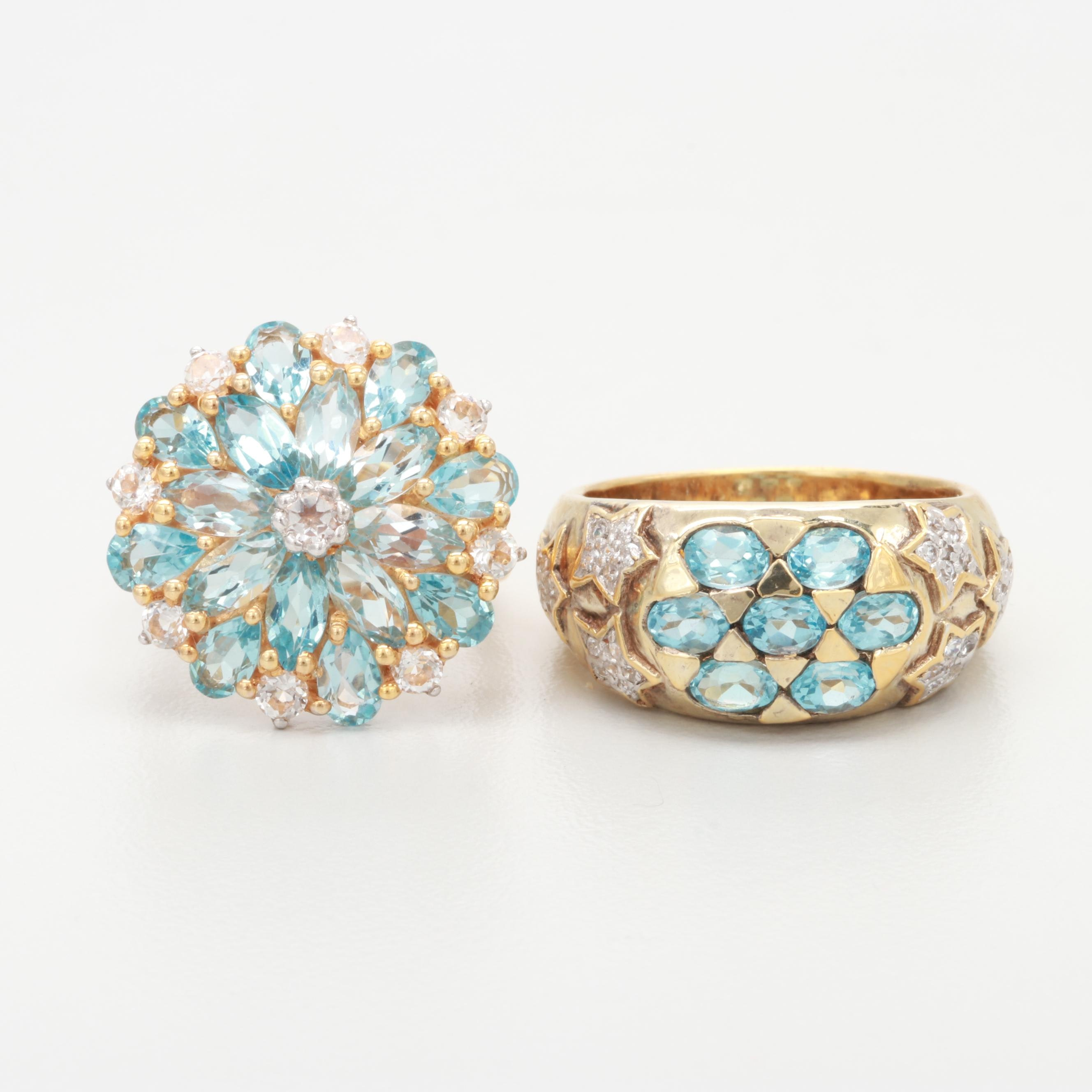 Gold Wash on Sterling Silver Blue Topaz and White Topaz Rings