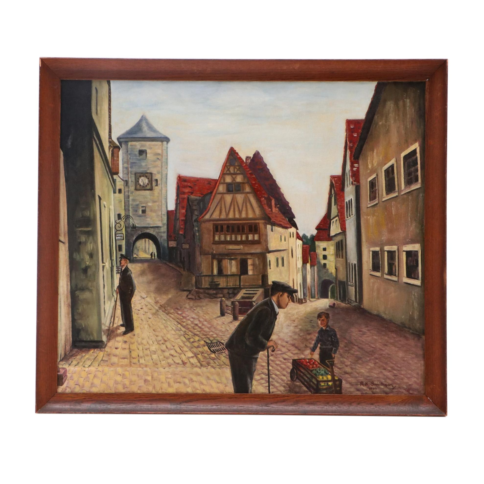 R.K. Smithson 1947 Oil Painting of Figures Near Rothenburg Tower