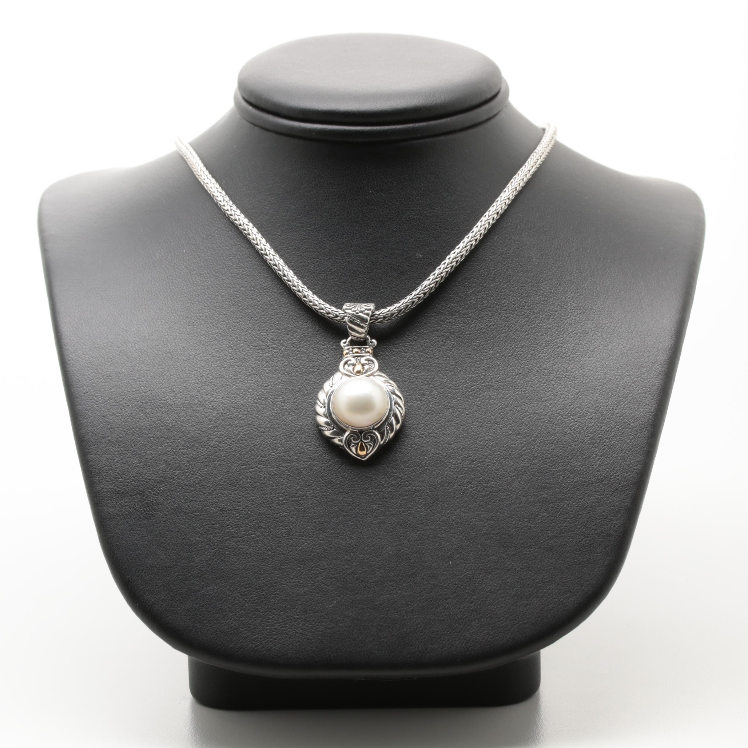 Robert Manse Sterling Silver Cultured Pearl Necklace with 18K Accents