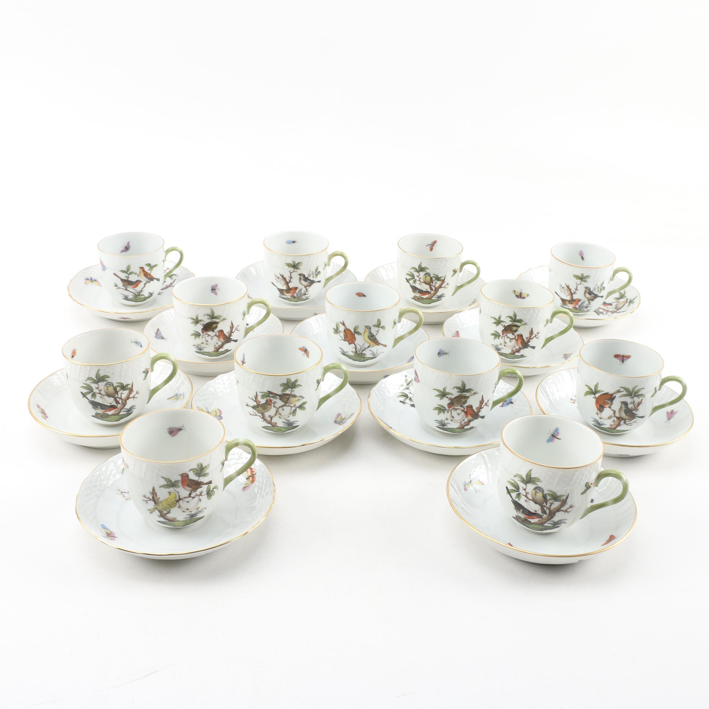 "Herend ""Rothschild Bird"" Hand-Painted Porcelain Cups and Saucers"
