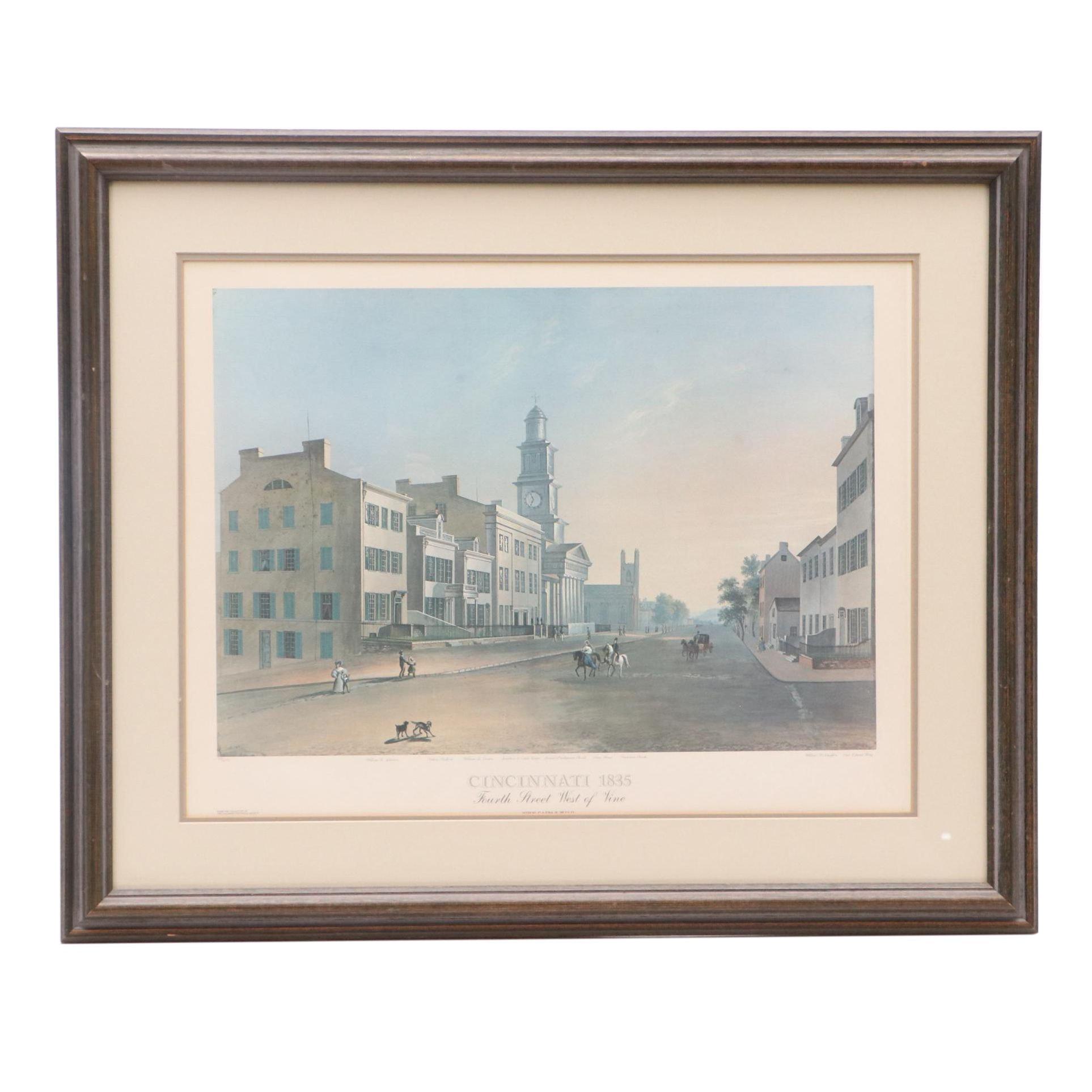 """Limited Edition Offset Lithograph after John Caspar Wild """"Cincinnati 1835"""""""