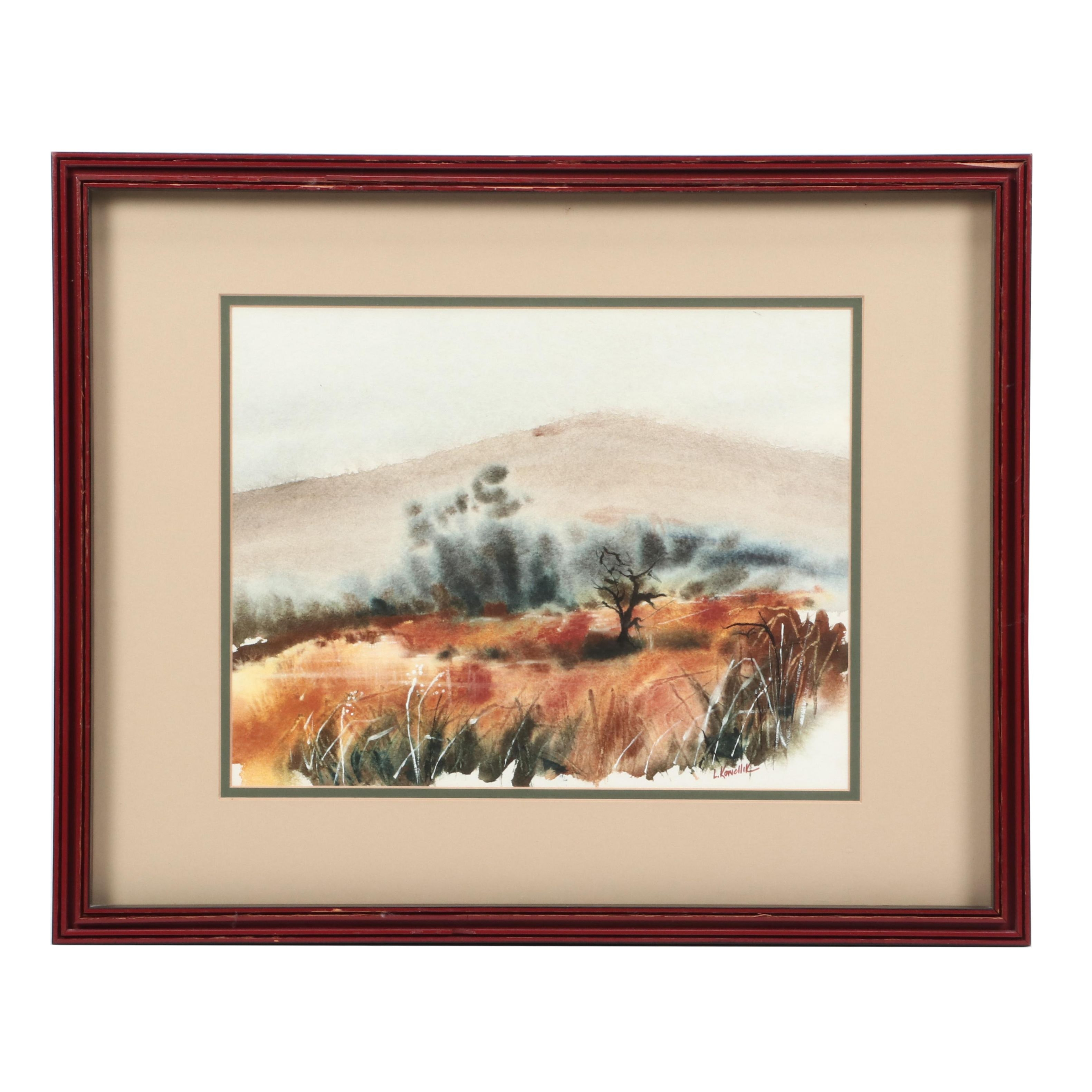 L. Konollik Abstract Watercolor Painting of Landscape
