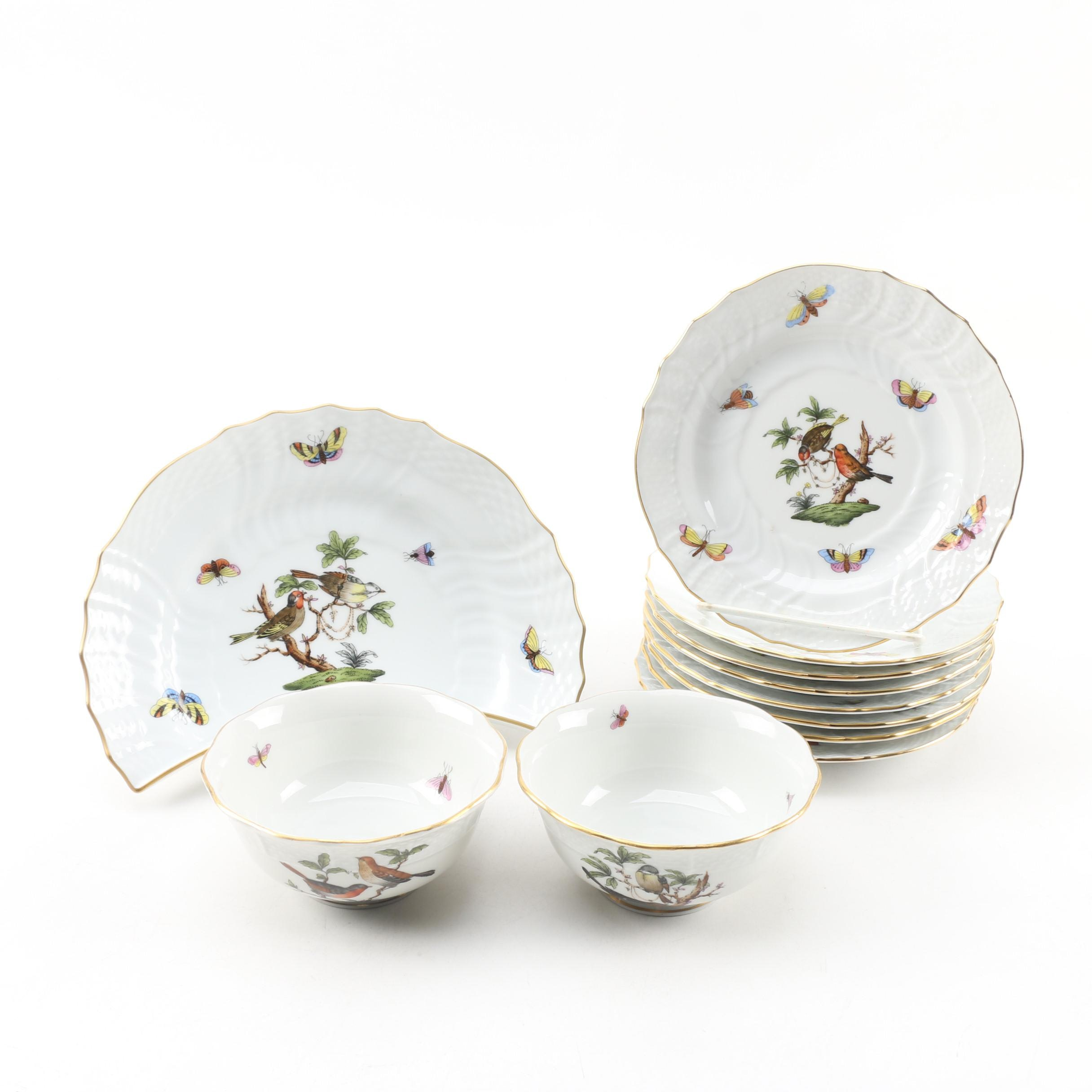 "Herend ""Rothschild Bird"" Porcelain Crescent Salad Plate, Saucers and Sauce Bowls"