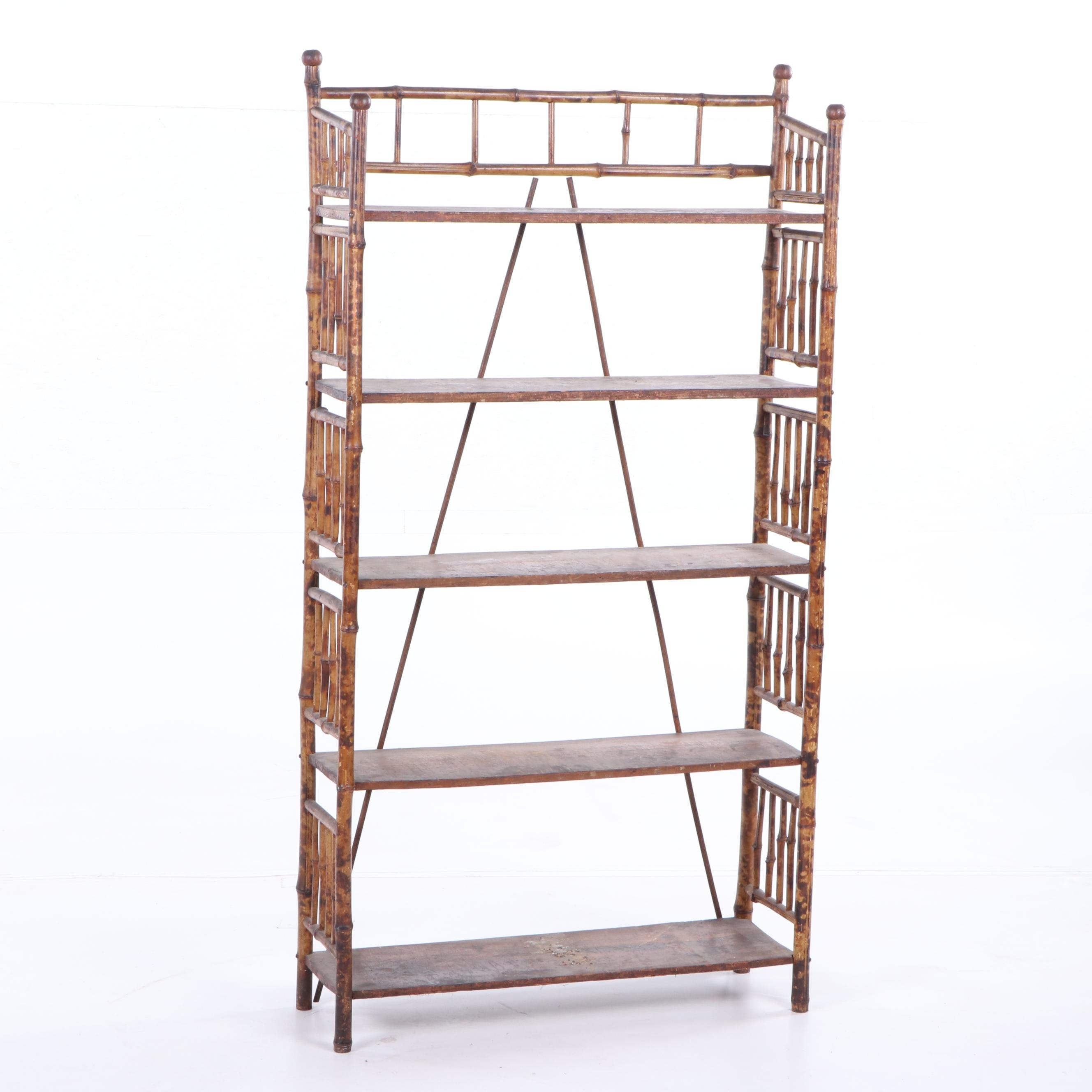 Victorian Style Bamboo and Wood Five-Shelf Étagère Bookcase, Late 19th Century