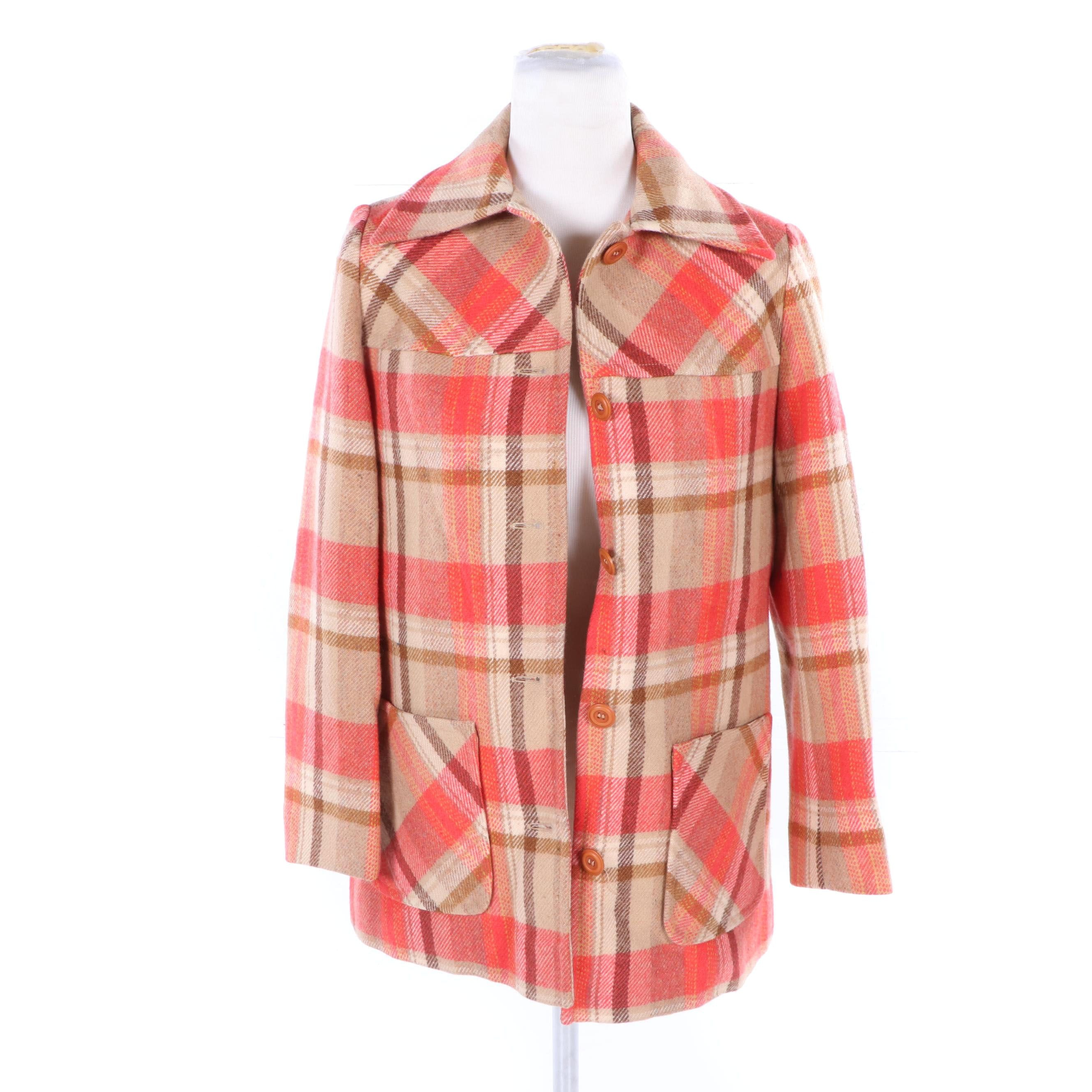 Women's Vintage Young Pendleton Plaid Wool Shirt Jacket
