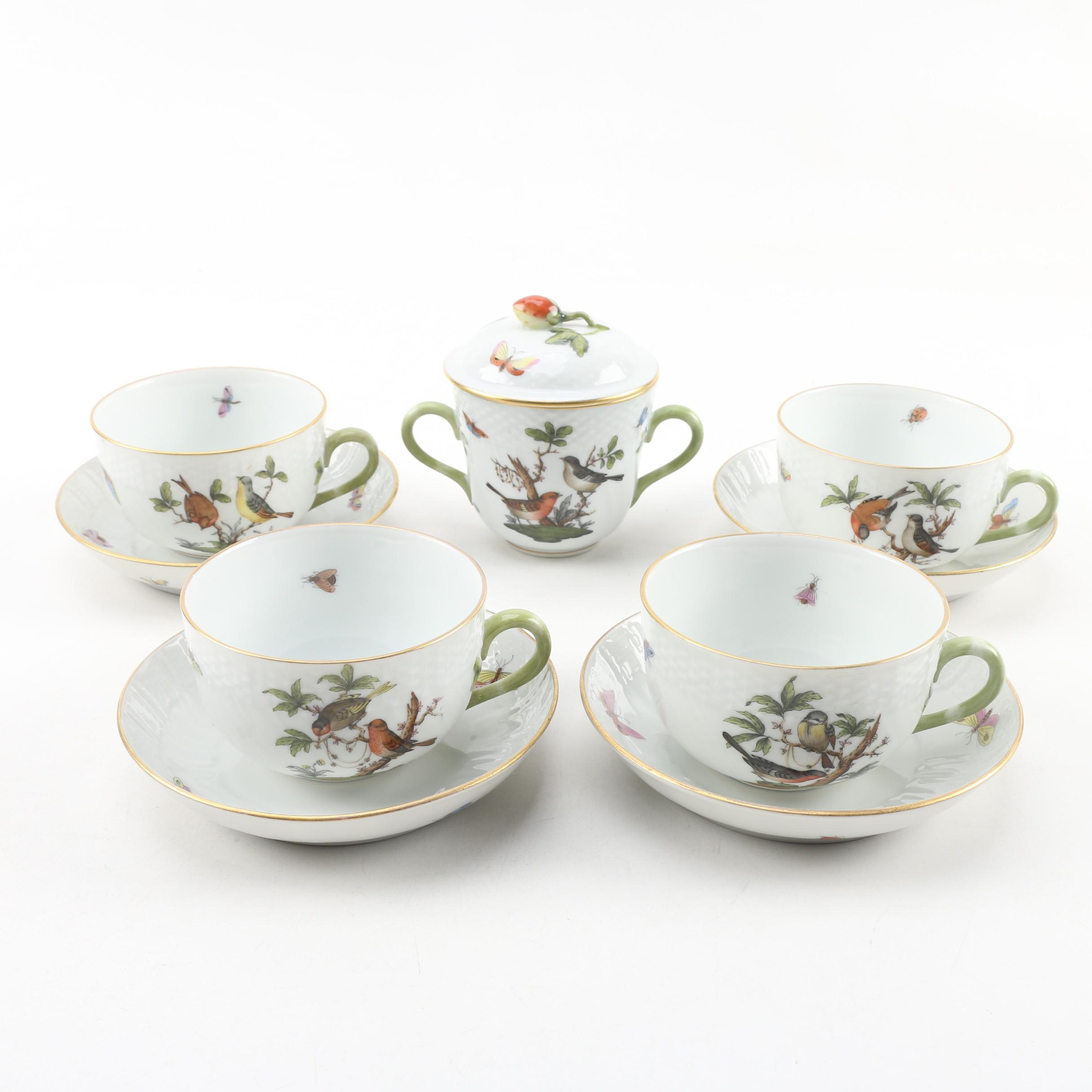 "Herend Hungary ""Rothschild Bird"" Porcelain Teacups, Saucers and Sugar Bowl"