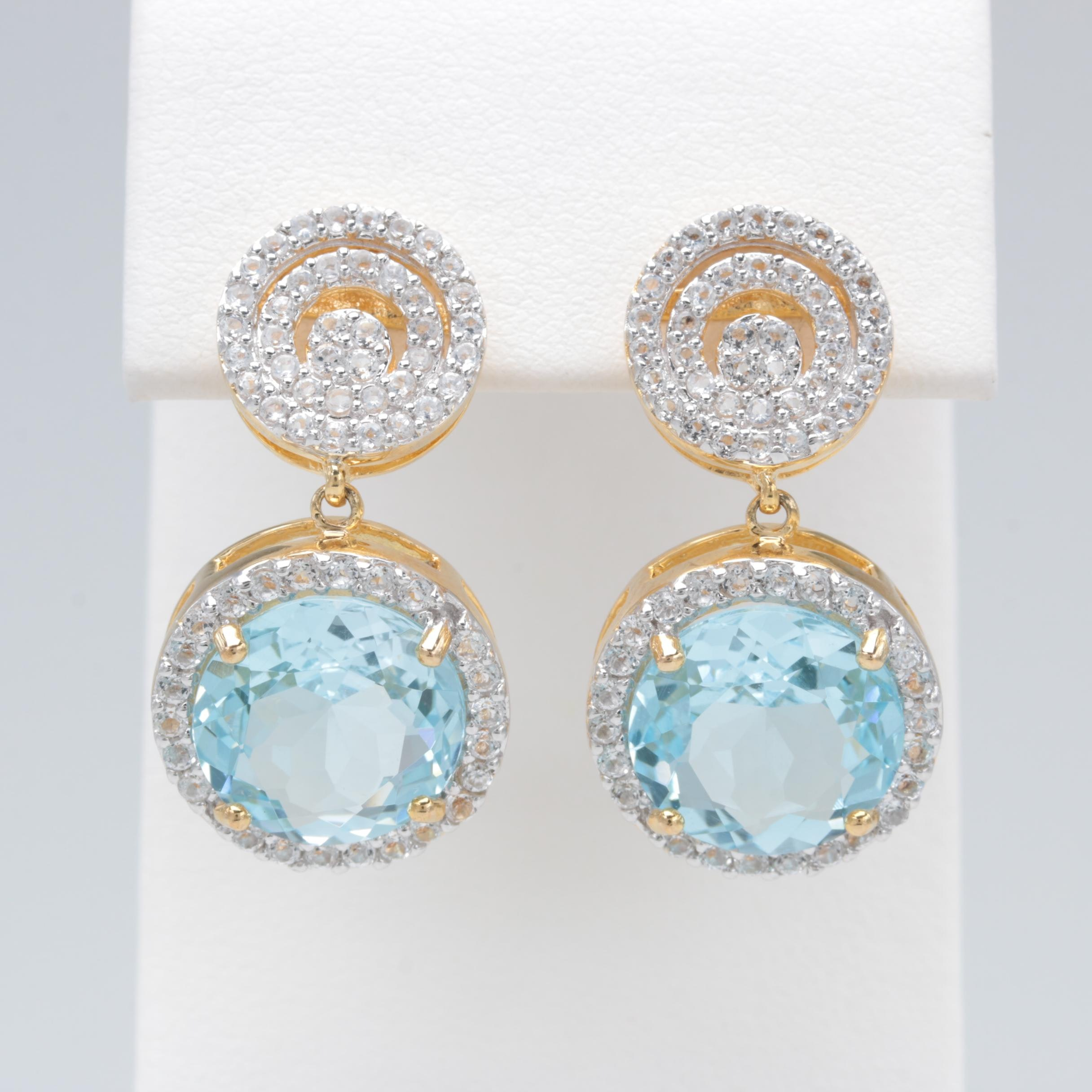 Robert Manse Gold Wash on Sterling Silver Blue and White Topaz Earrings