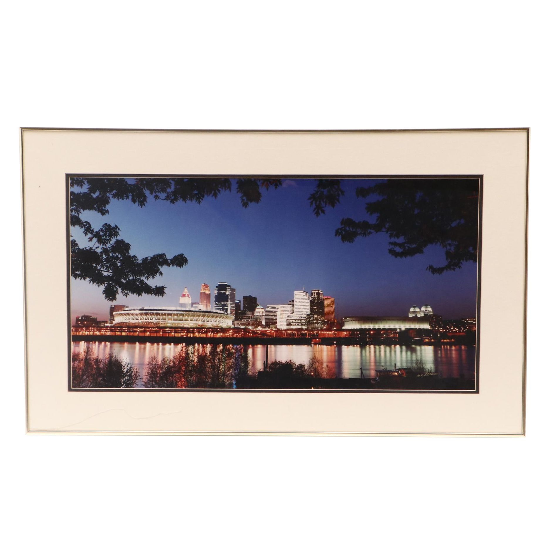 W. F. Schildman Circa 1980s Chromogenic Color Photograph of Cincinnati Skyline