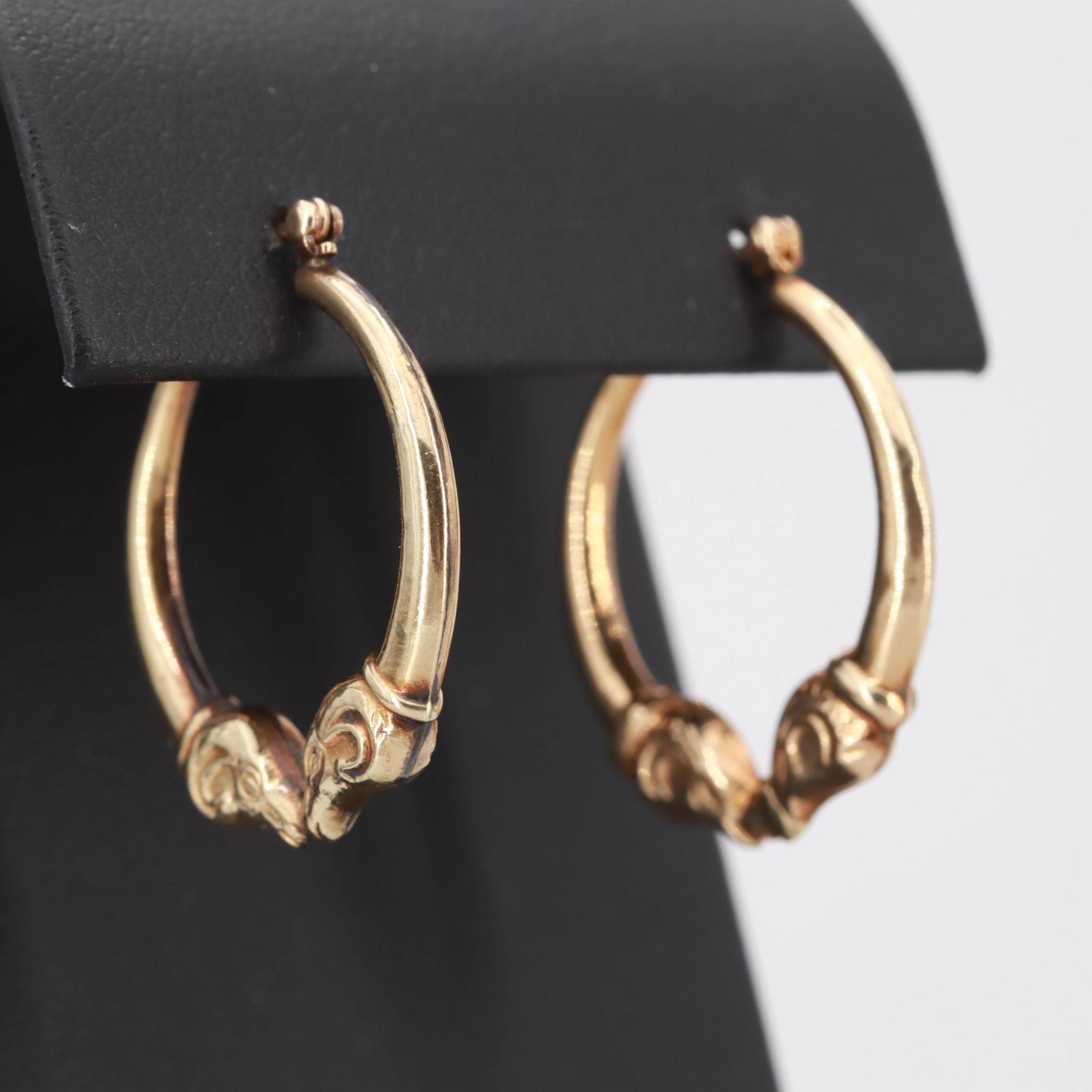 14K Yellow Gold Earrings with Ram Motif