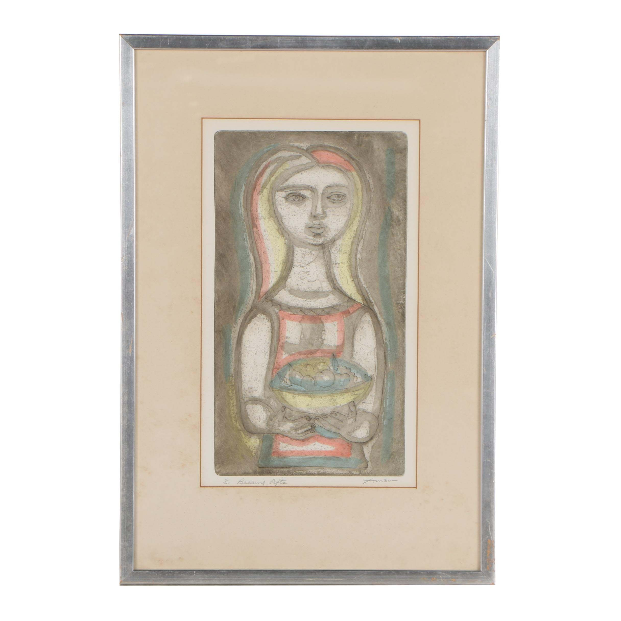"""Irving Amen 1955 Color Etching """"Bearing Gifts"""""""