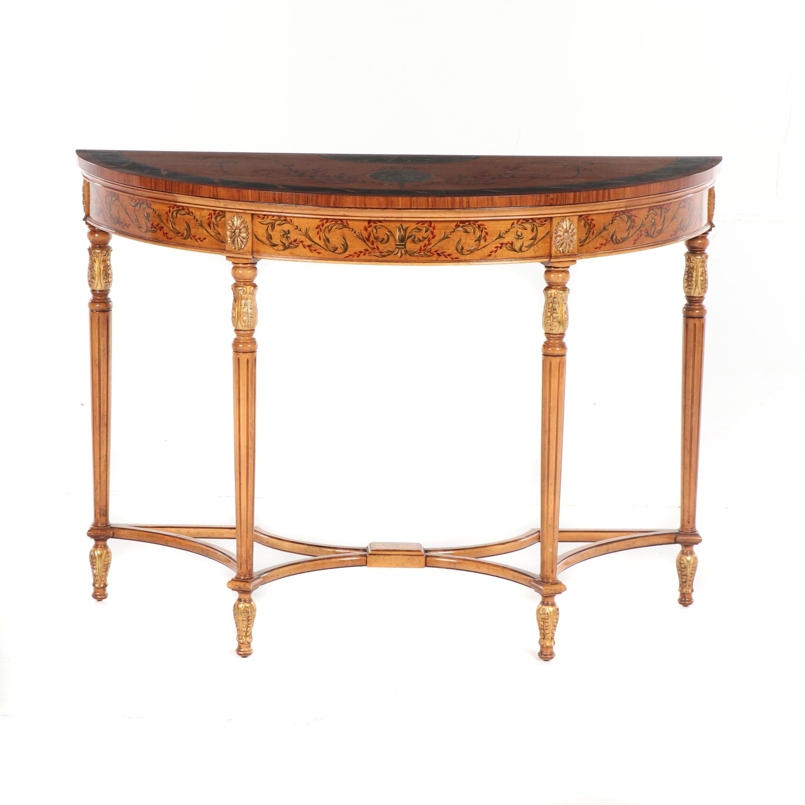 Adam Style Hand Painted Mahogany Demilune Console Table, 20th Century