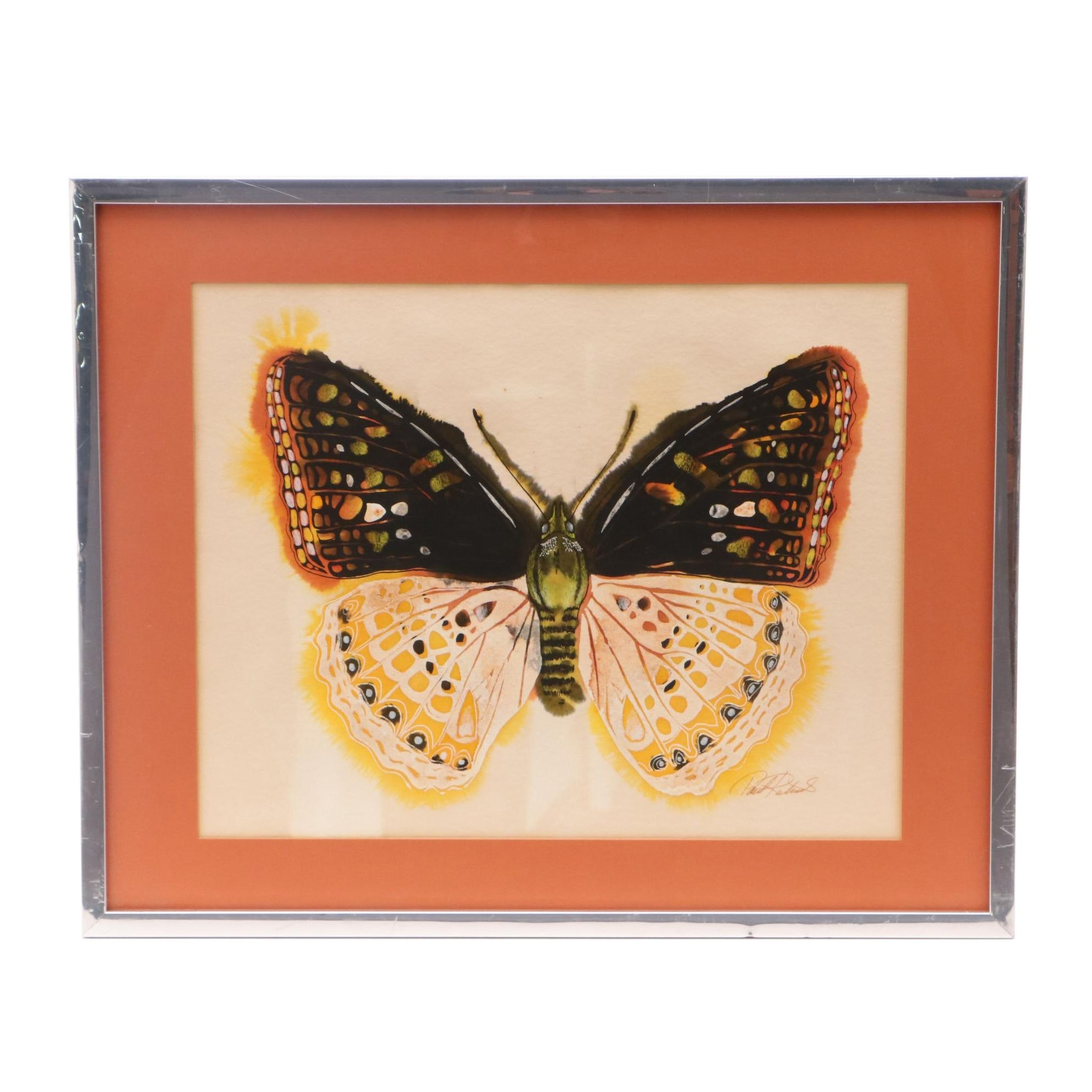 "Paul Richards Mixed Media Painting ""Yellow Butterfly 30"""