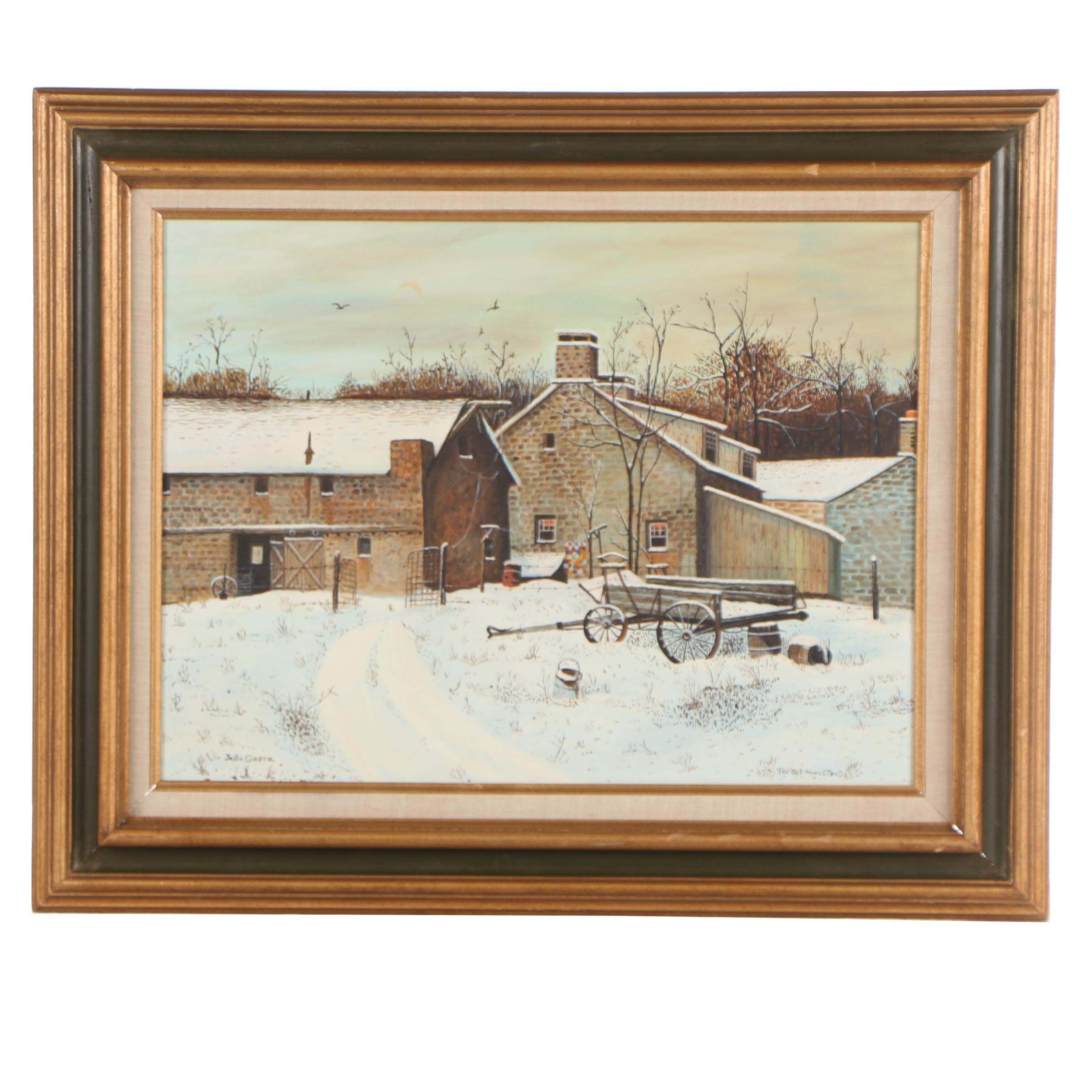 "John Greco 1974 Oil Painting ""The Old Homestead"""
