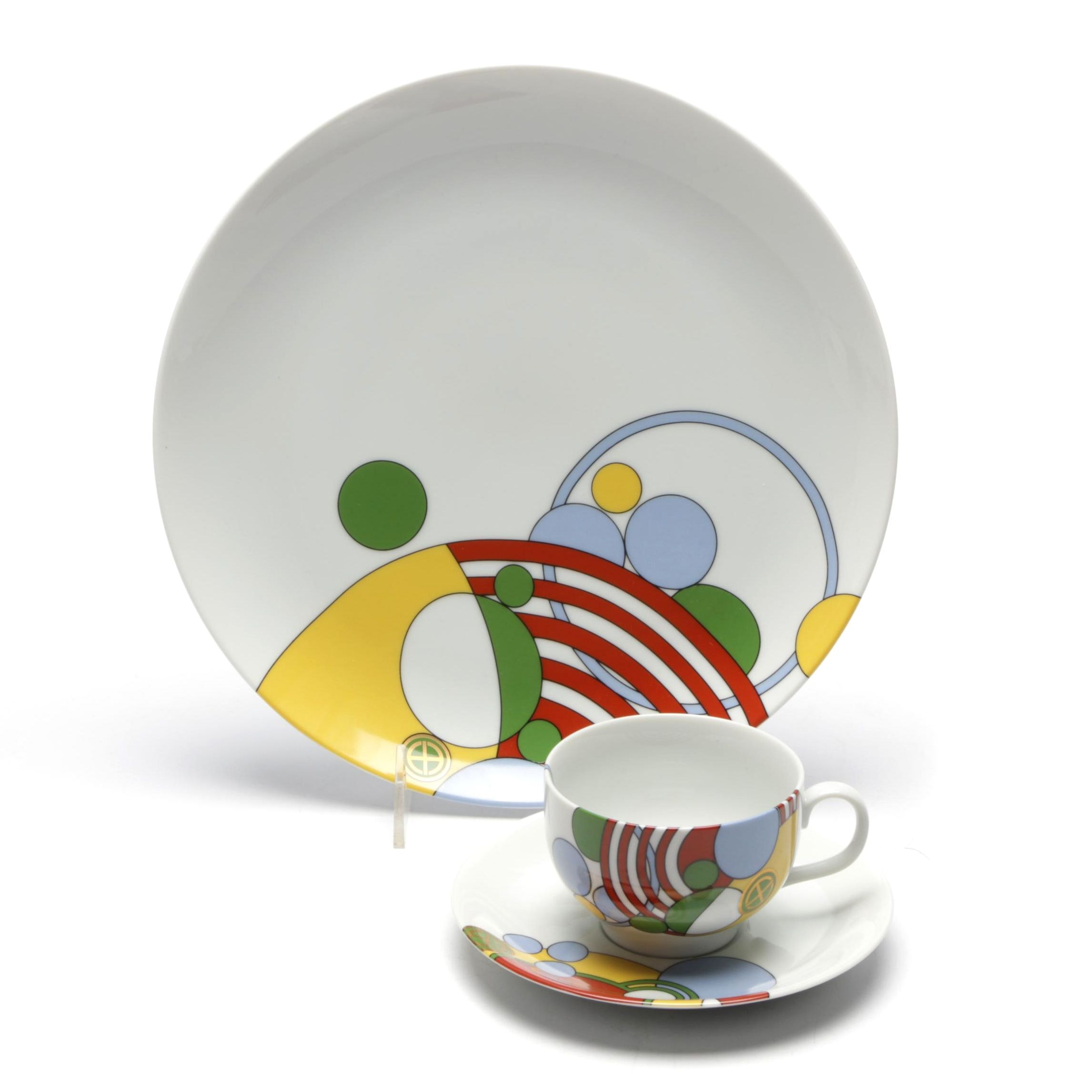 """Tiffany & Co. """"Cabaret"""" Pattern Dinner Plate with Cup and Saucer"""