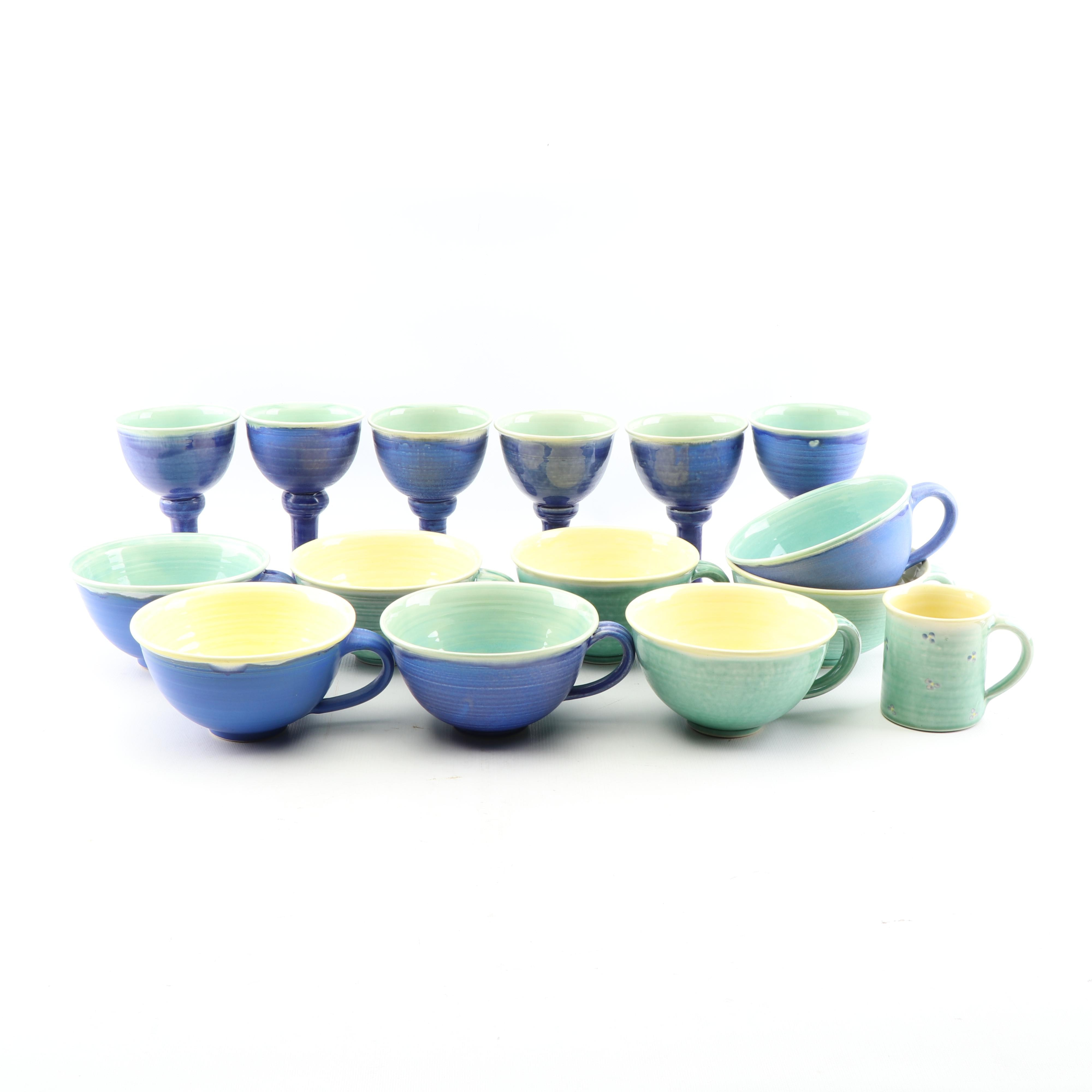 Beyond Blue Wheel Thrown Porcelain Goblets and Mugs, 21st Century