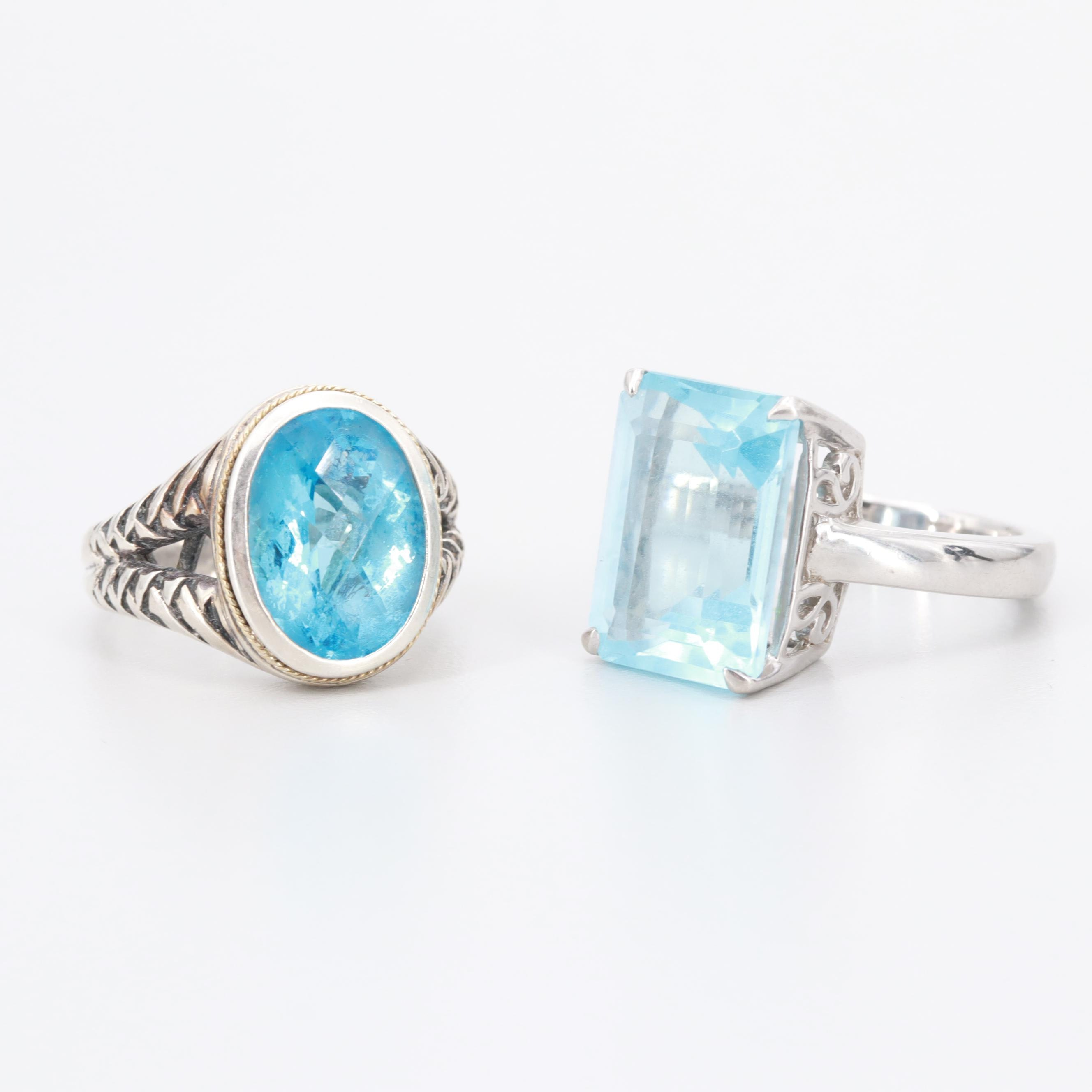 Sterling Silver Blue Topaz Rings with 18K Yellow Gold Accent