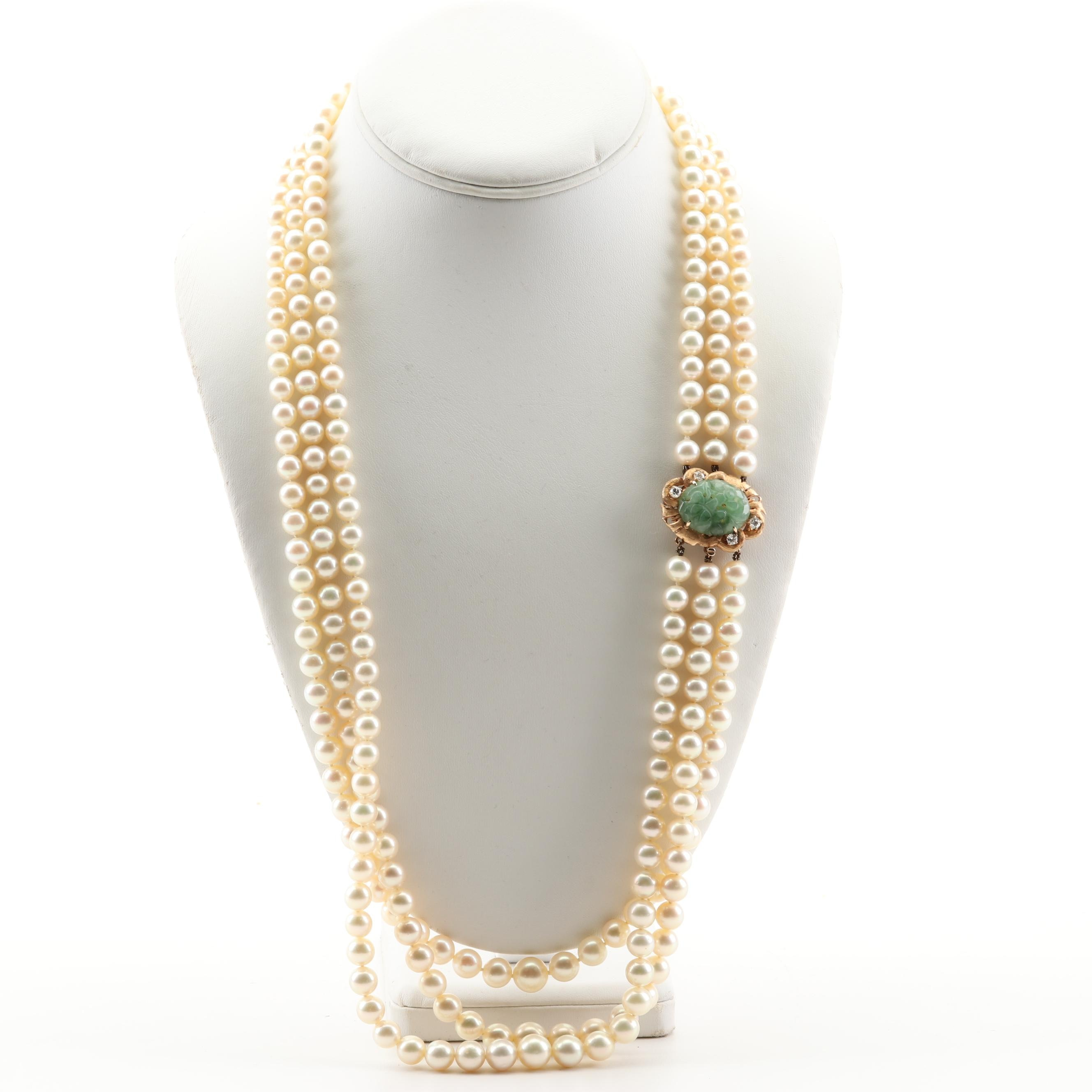 14K Yellow Gold Freshwater Pearl, Jadeite and Diamond Necklace