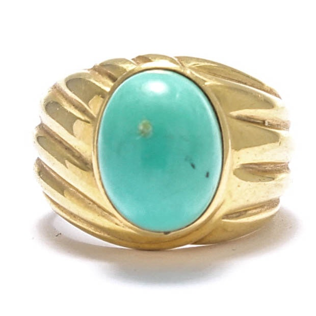 18K Yellow Gold Turquoise Cabochon Ring