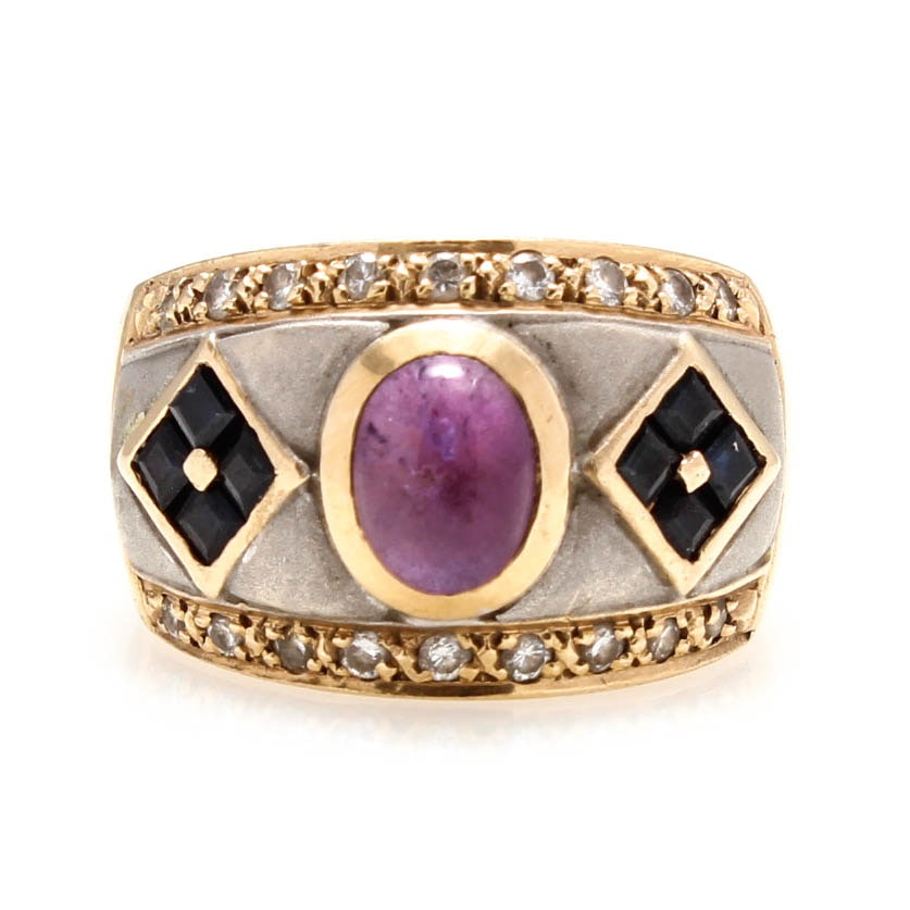 14K Yellow and White Gold Amethyst, Sapphire and Diamond Ring