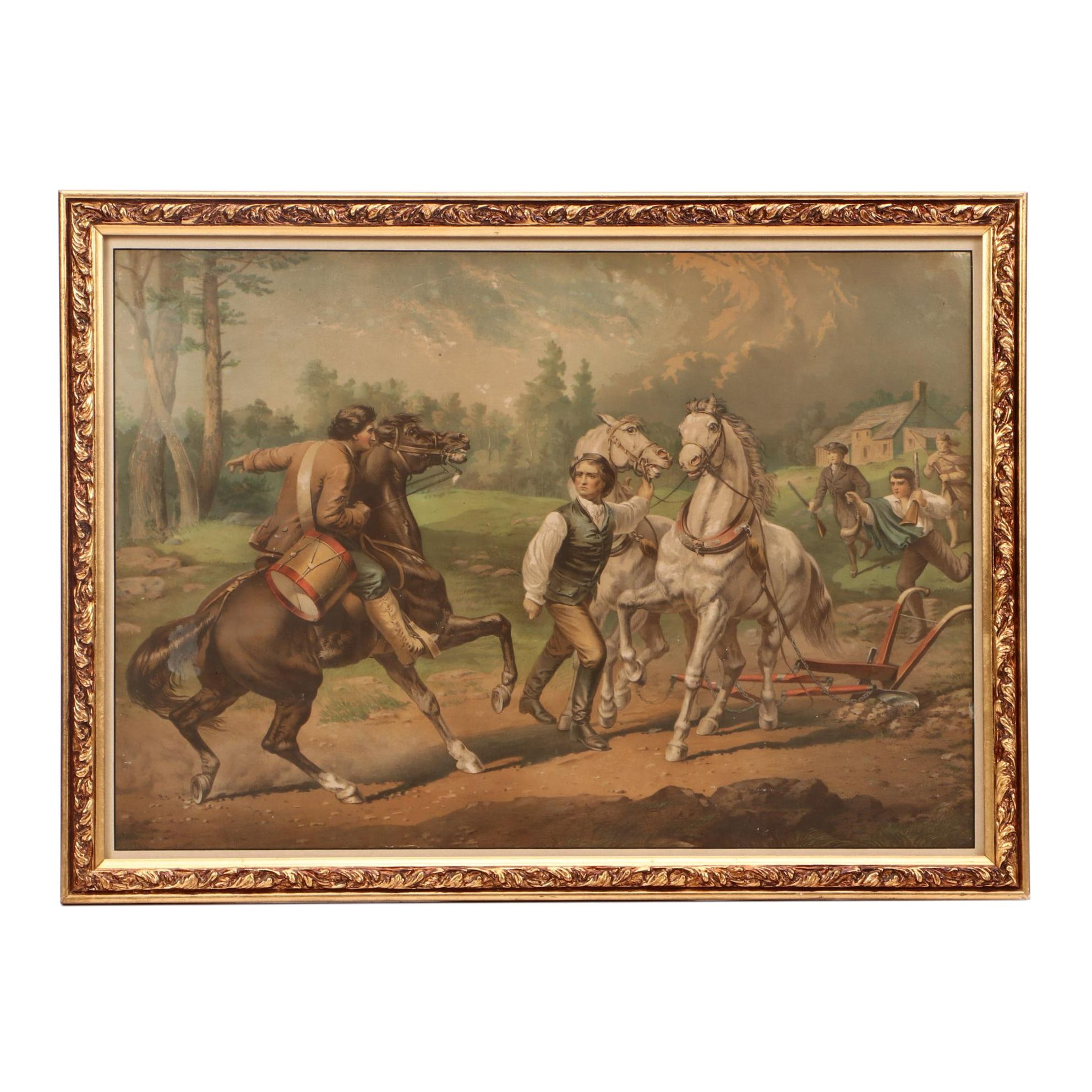 Antique Chromolithograph of Paul Revere Alerting the Minute Men