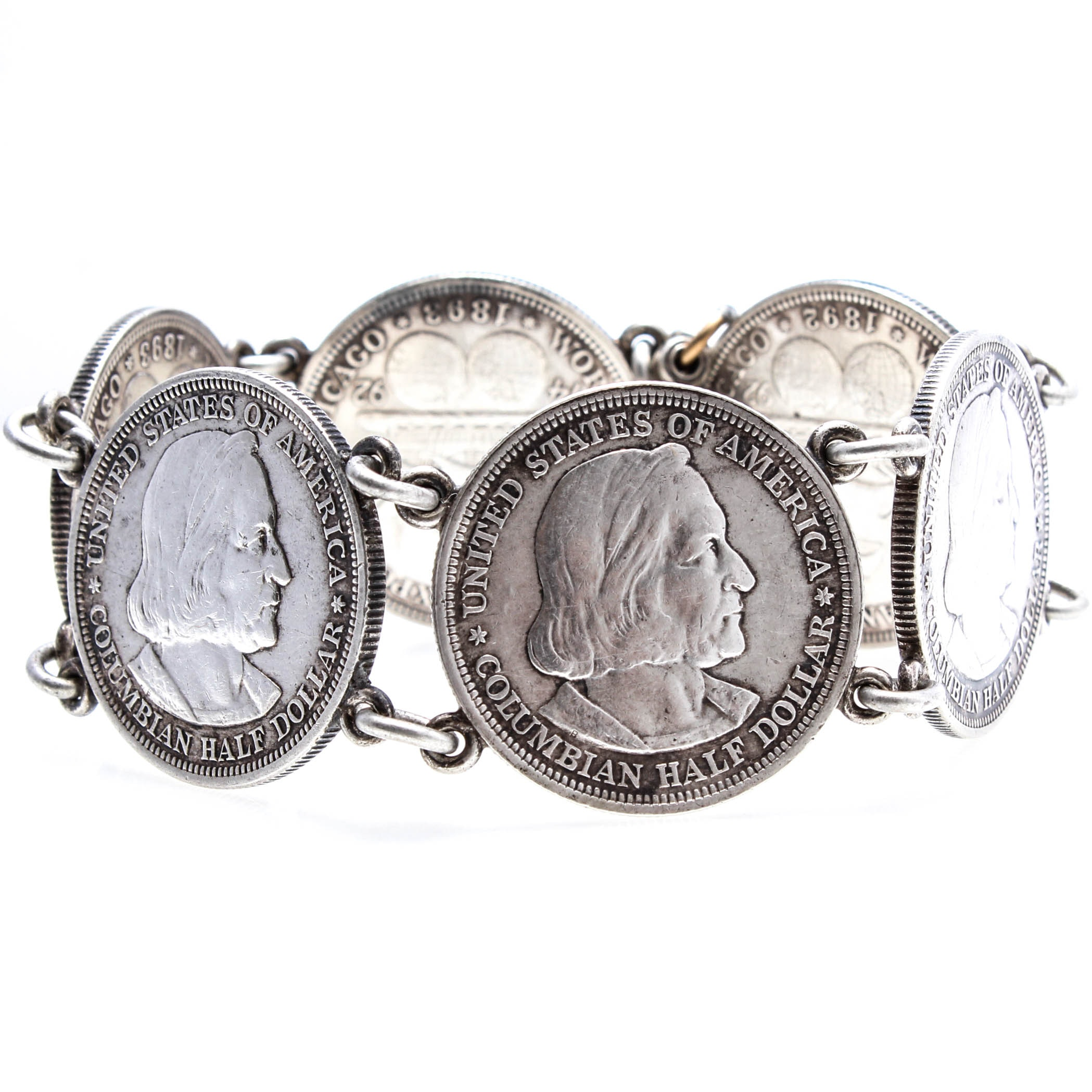 Sterling Silver Coin-Link Bracelet with 1892 – 1893 Commemorative Half Dollars